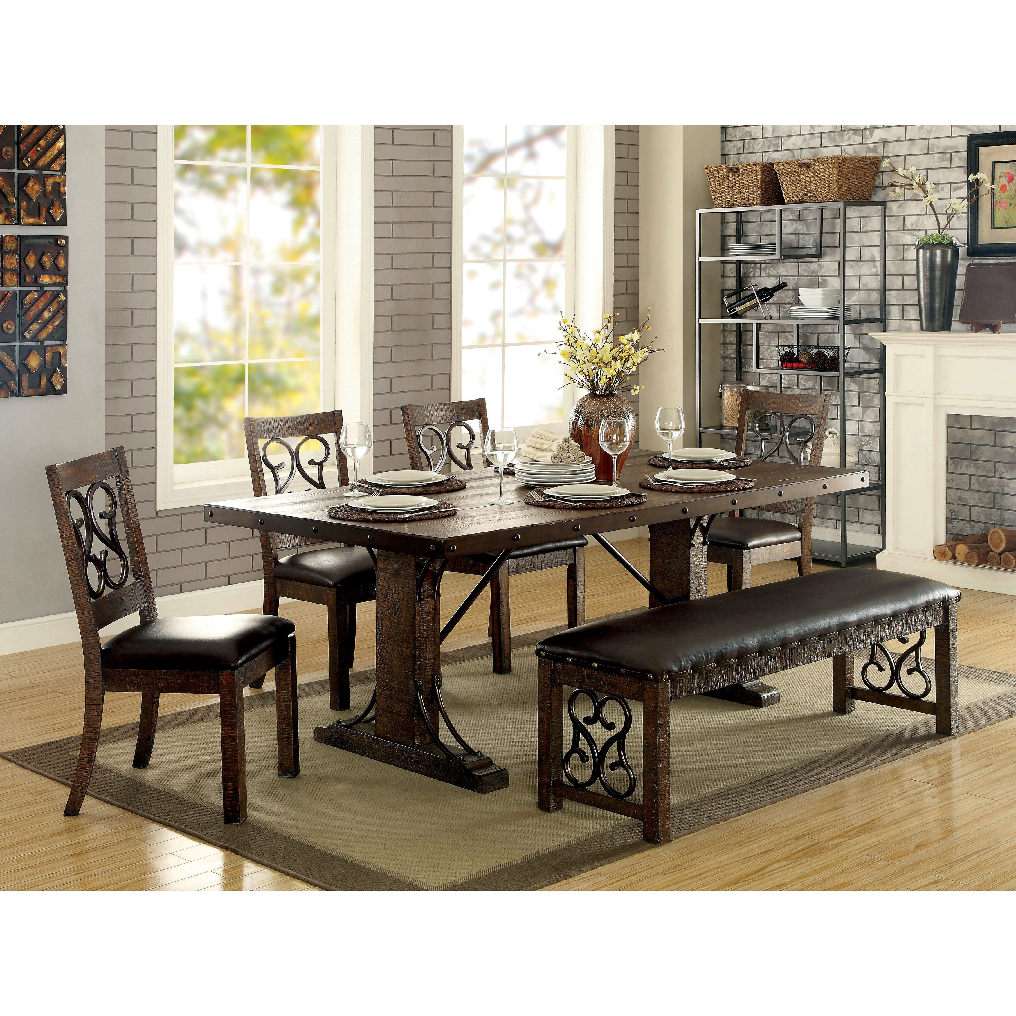 960f2a2bf240 Shop Chester Contemporary Rustic Walnut Dining Table by FOA - Rustic Walnut  - On Sale - Free Shipping Today - Overstock - 14602603