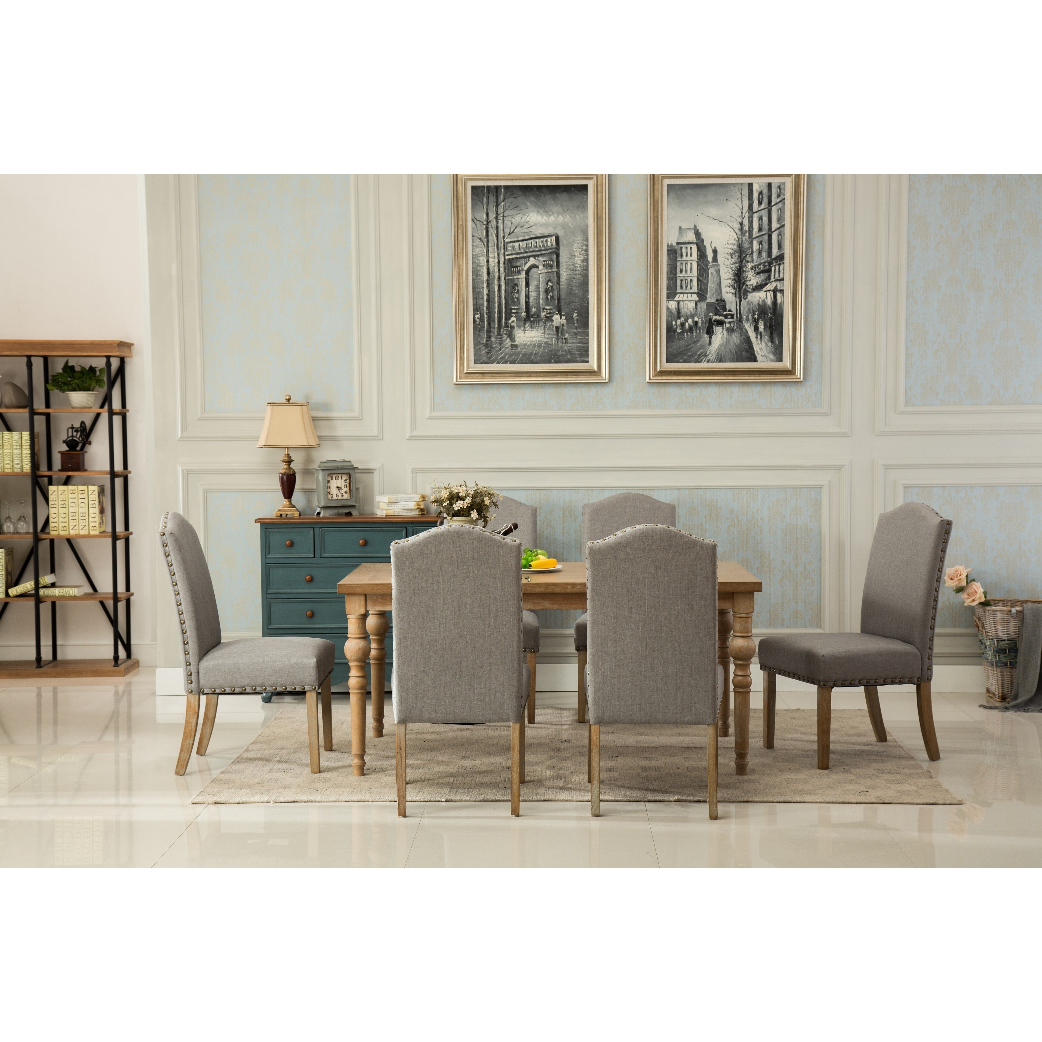 Habitanian Solid Wood Dining Table With 6 Nailhead Chairs Free Shipping Today 21146683