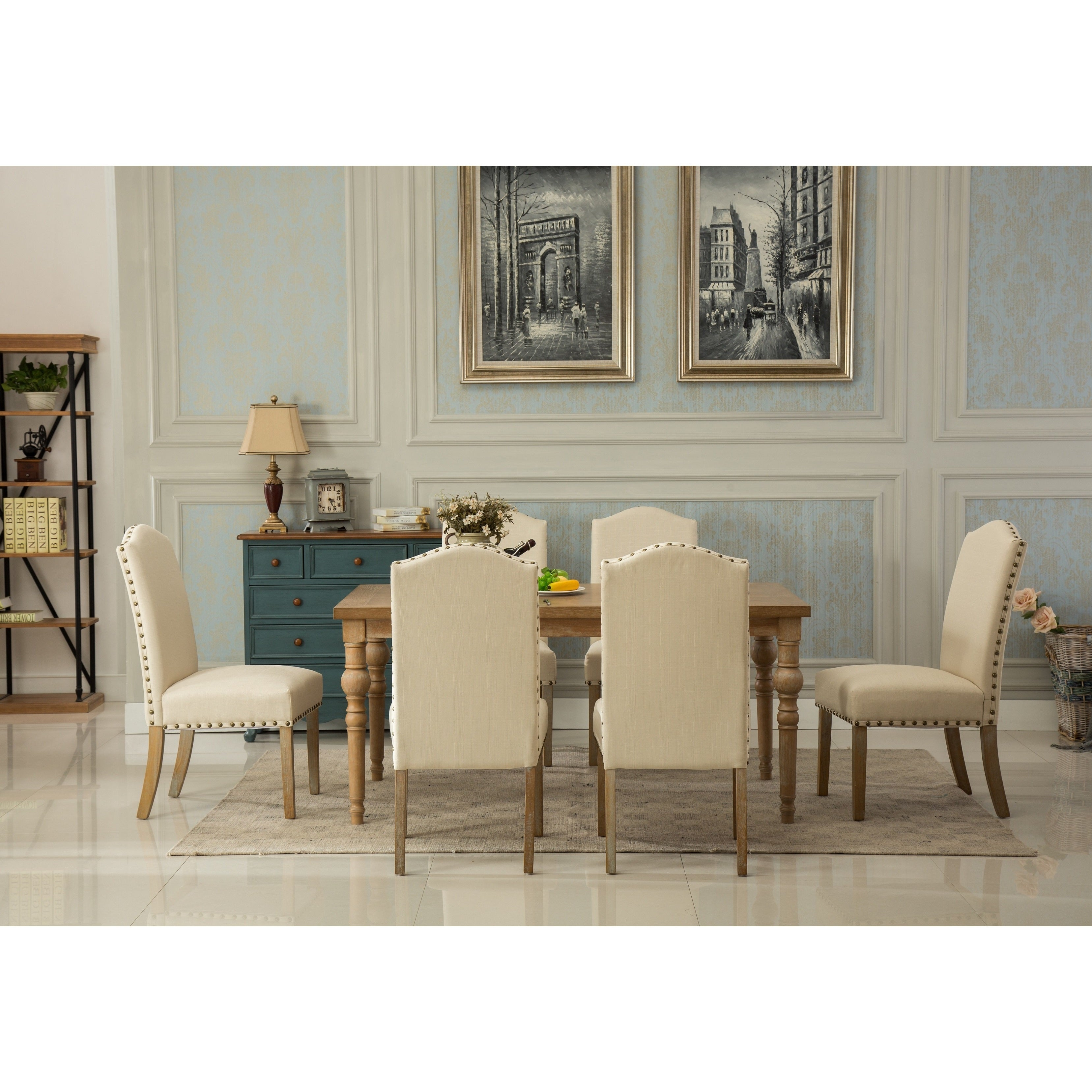 Habitanian Solid Wood Dining Table With 6 Nailhead Chairs Free Shipping Today 14602657