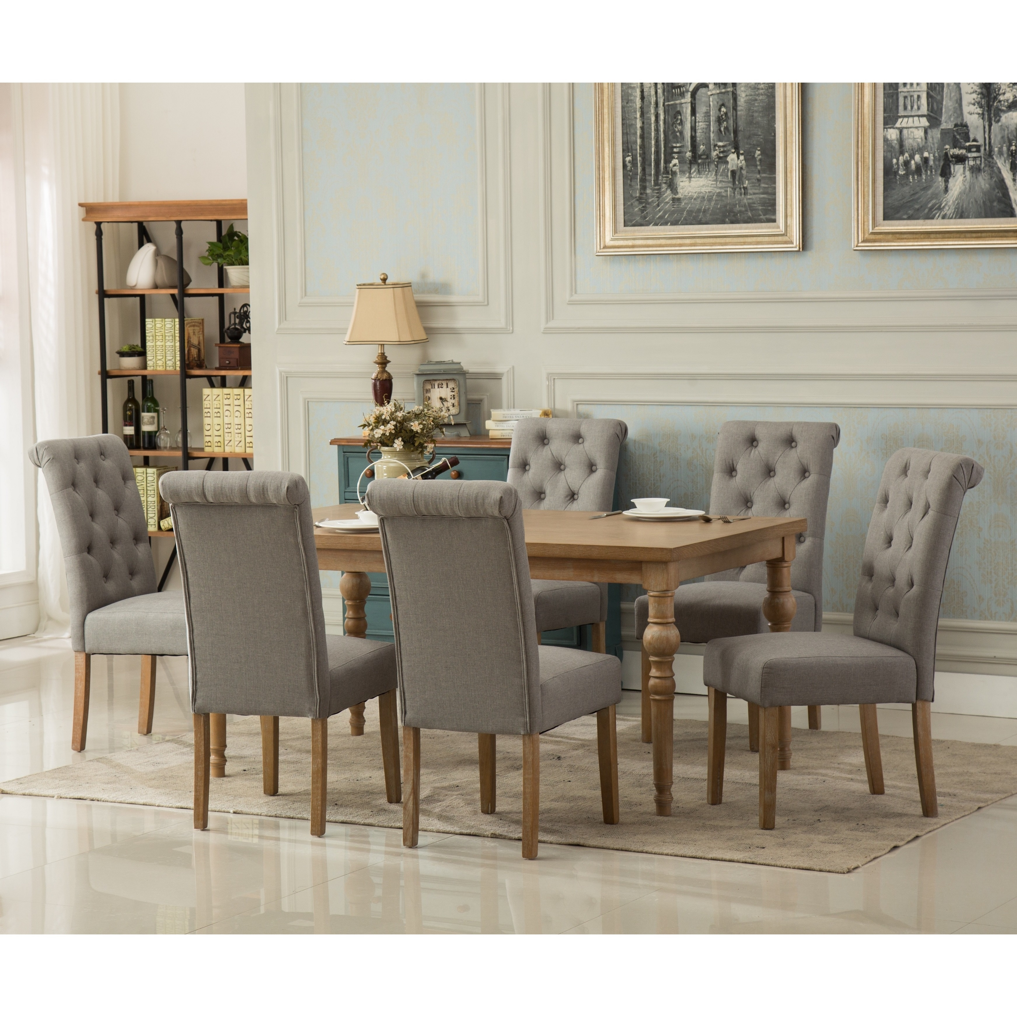 Habitanian Solid Wood Dining Table With 6 On Tufted Chairs Free Shipping Today 21146679