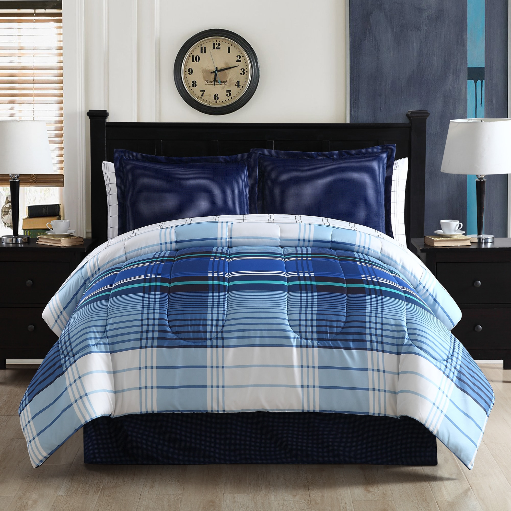 Shop Blue Plaid Microfiber Bed In A Bag Free Shipping Today
