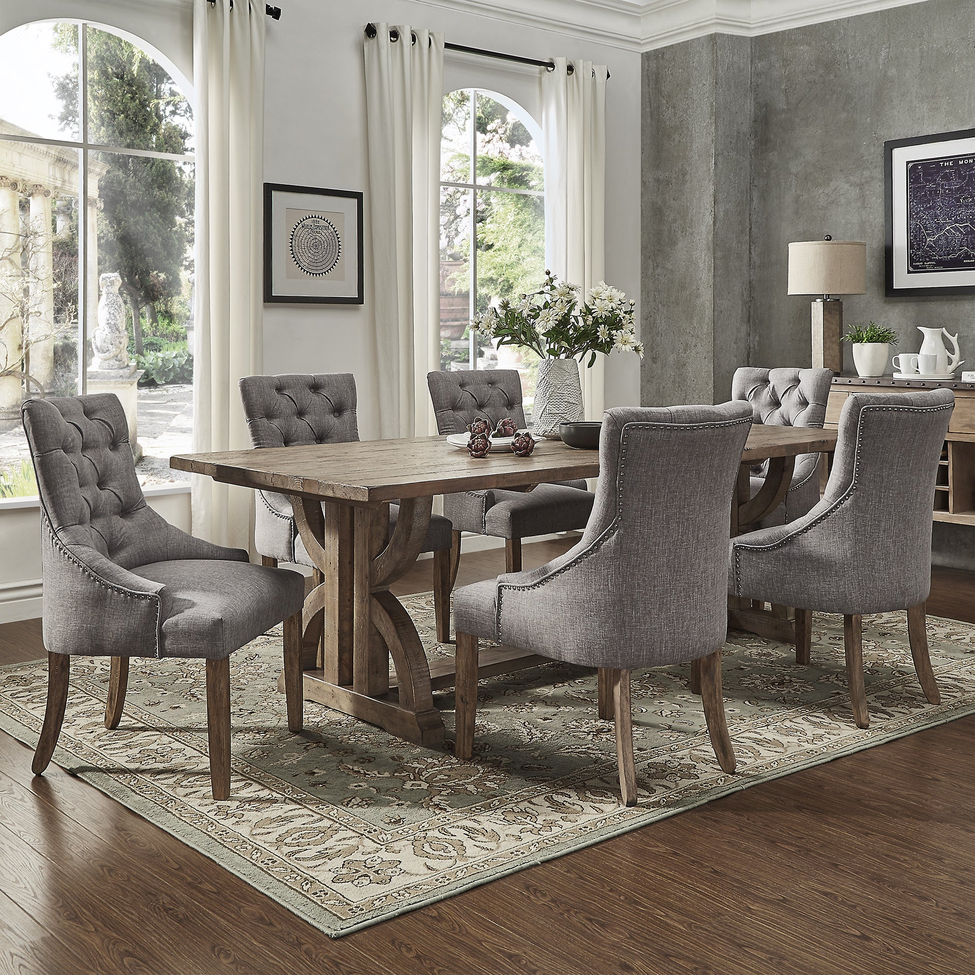 Bon Shop Paloma Salvaged Reclaimed Pine Wood 7 Piece Rectangle Dining Set By  INSPIRE Q Artisan   Free Shipping Today   Overstock.com   14602695