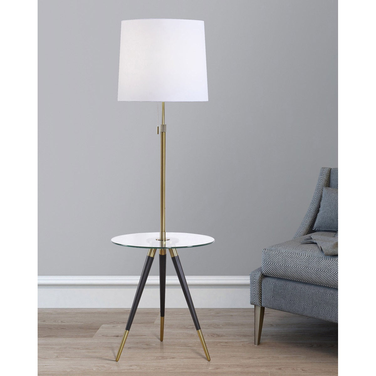 Premiere Antique Br And Clear Gl Tripod Table Floor Lamp With Fabric Shade Free Shipping Today 14604837