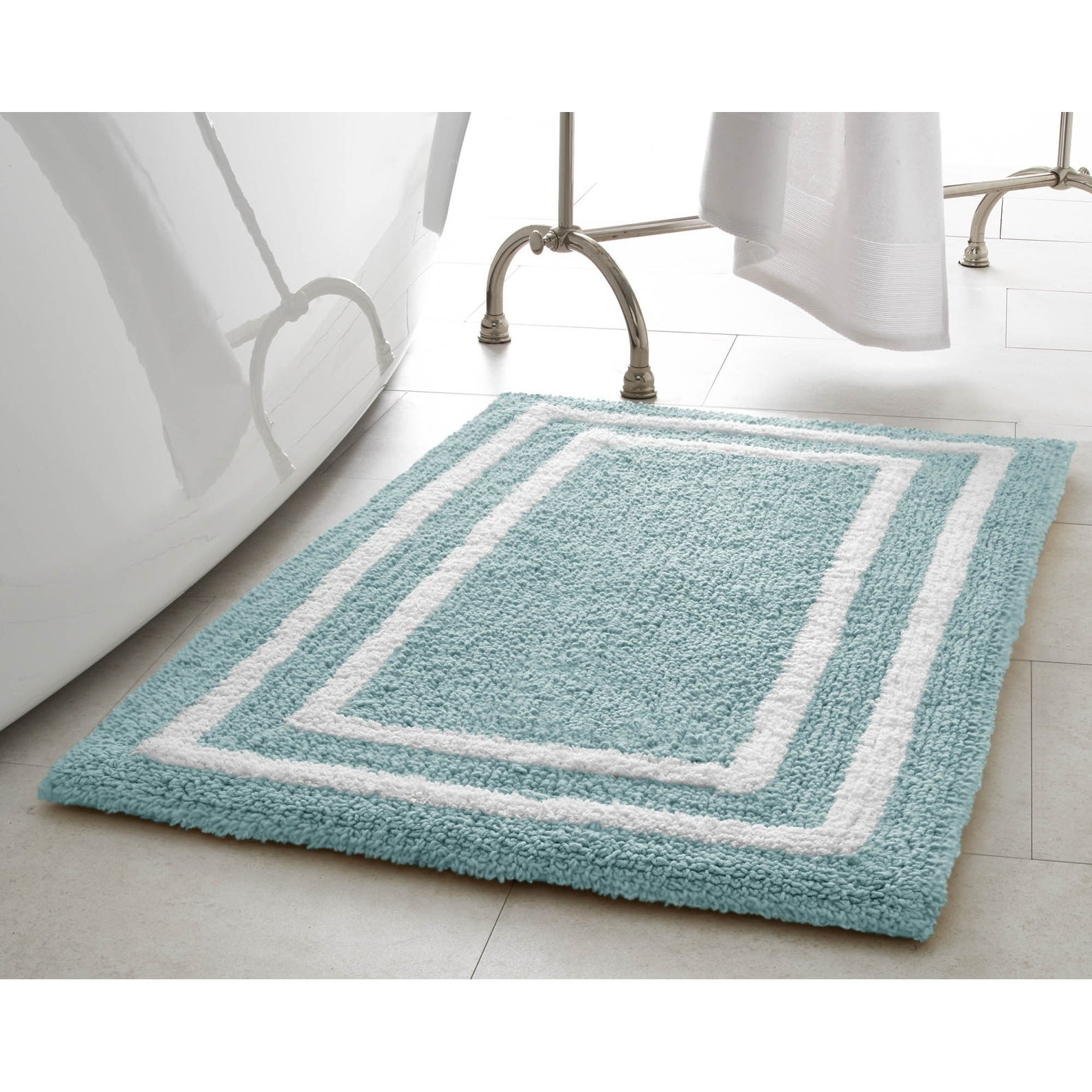 Jean Pierre Double Border Plush Reversible Cotton Bath Mat - Free ...