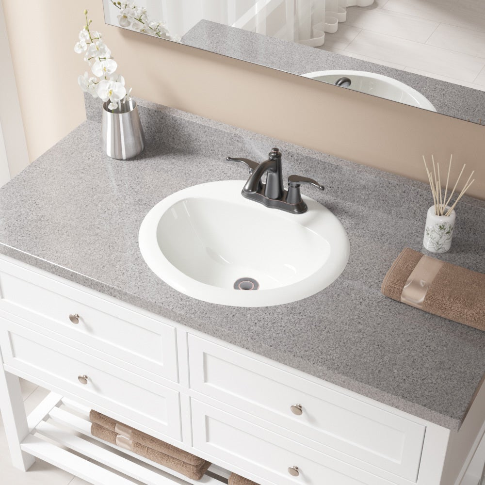 O2018 Bisque Overmount Bathroom Sink With Pop Up Drain Free Shipping Today 21149750