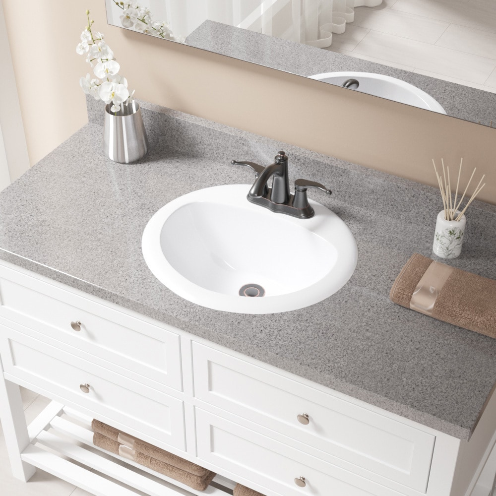 O2018 White Overmount Bathroom Sink With Pop Up Drain Free Shipping Today 21149751
