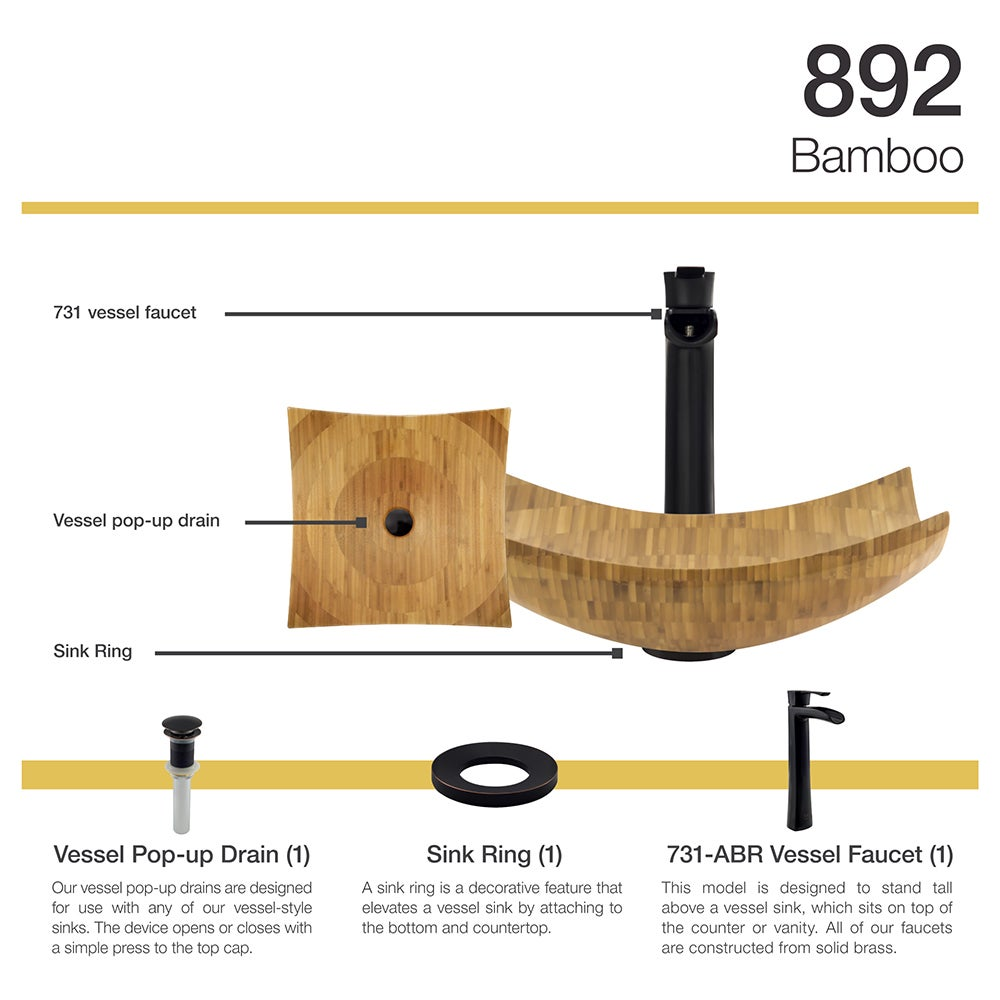 892 Bamboo Vessel Bathroom Sink with Faucet, Sink Ring, and Pop-Up ...