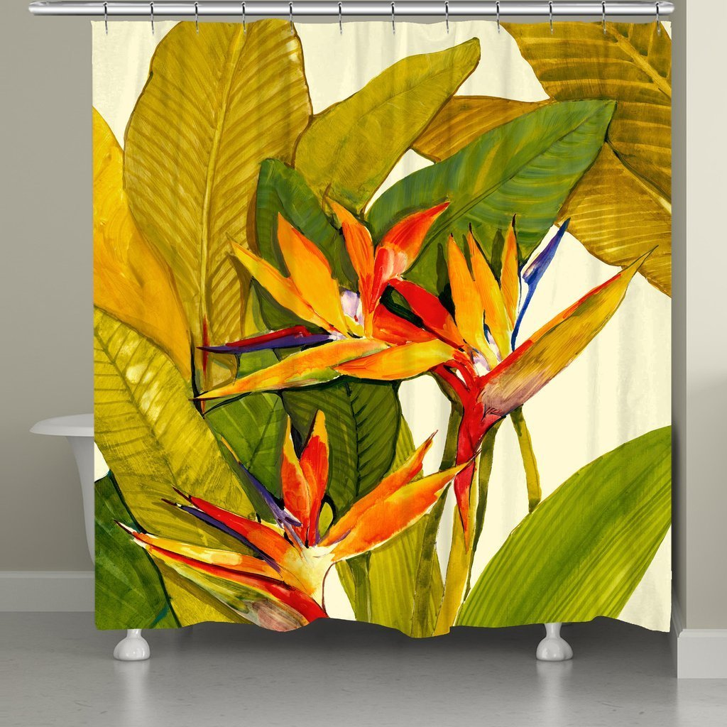 Shop Laural Home Tropical Blossoms Shower Curtain - On Sale - Free ...