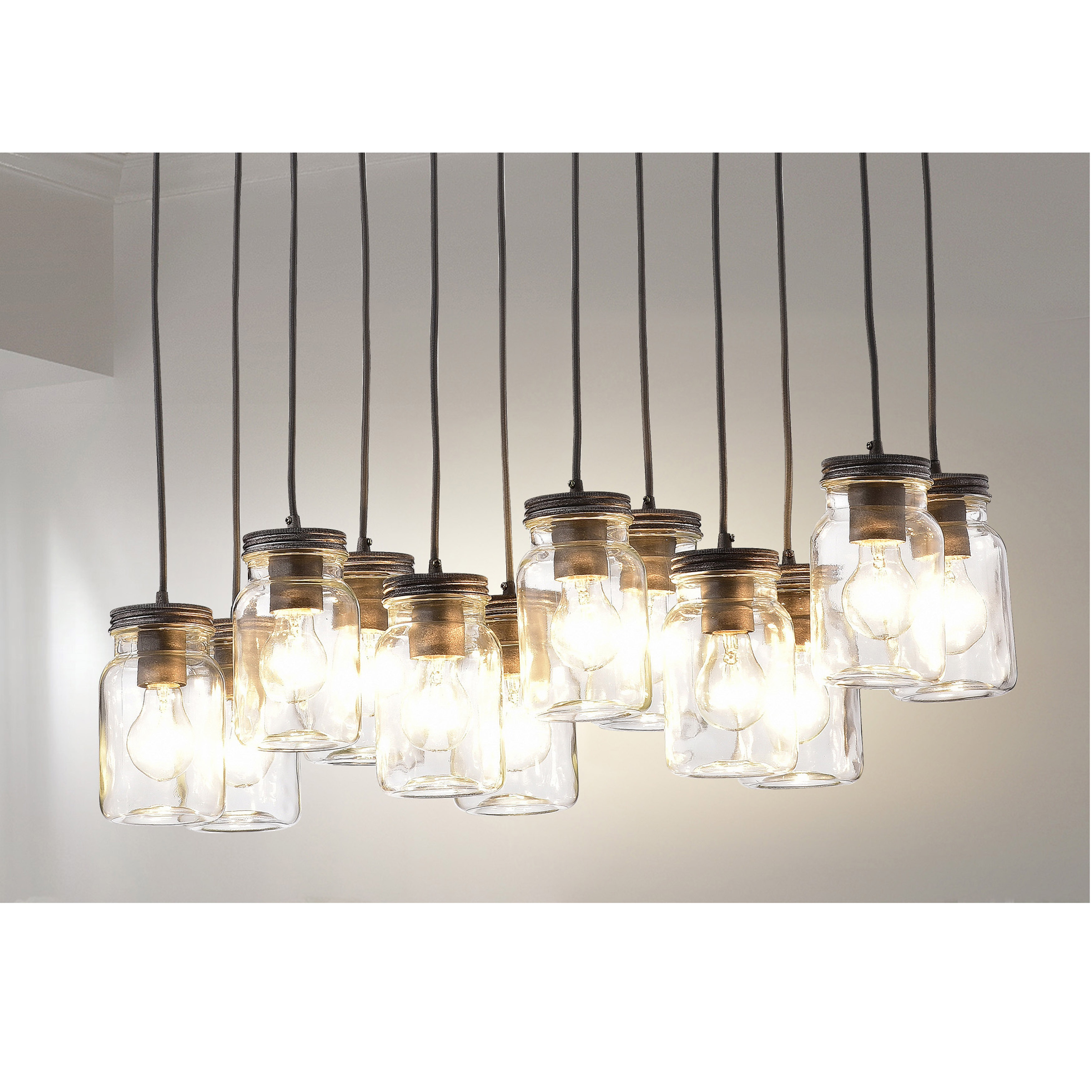 Belinda 12-light Clear Glass Canning Jar Pendant Chandelier - Free Shipping  Today - Overstock.com - 21150437