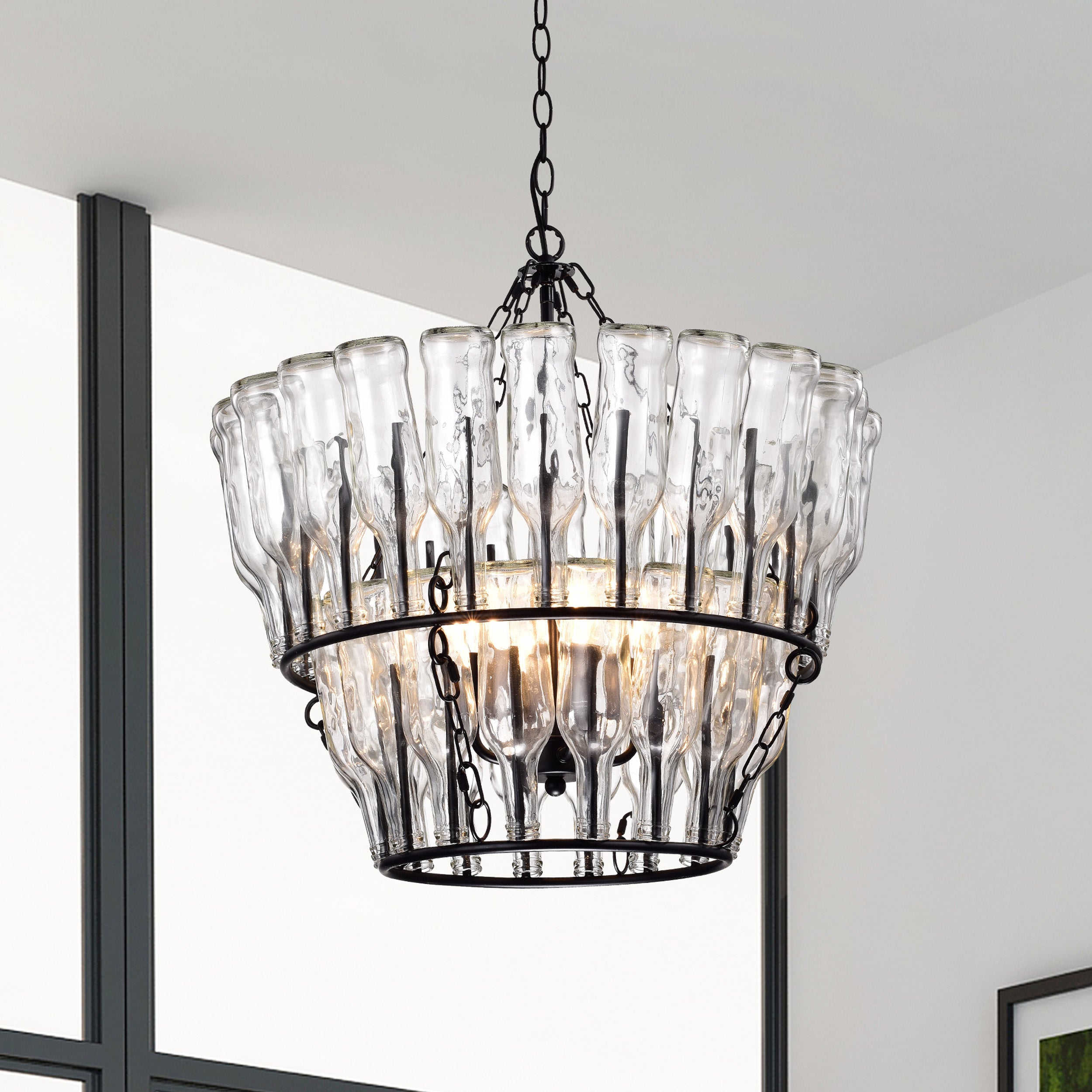 oil clear with bronze glass light chandelier serai pin in rubbed