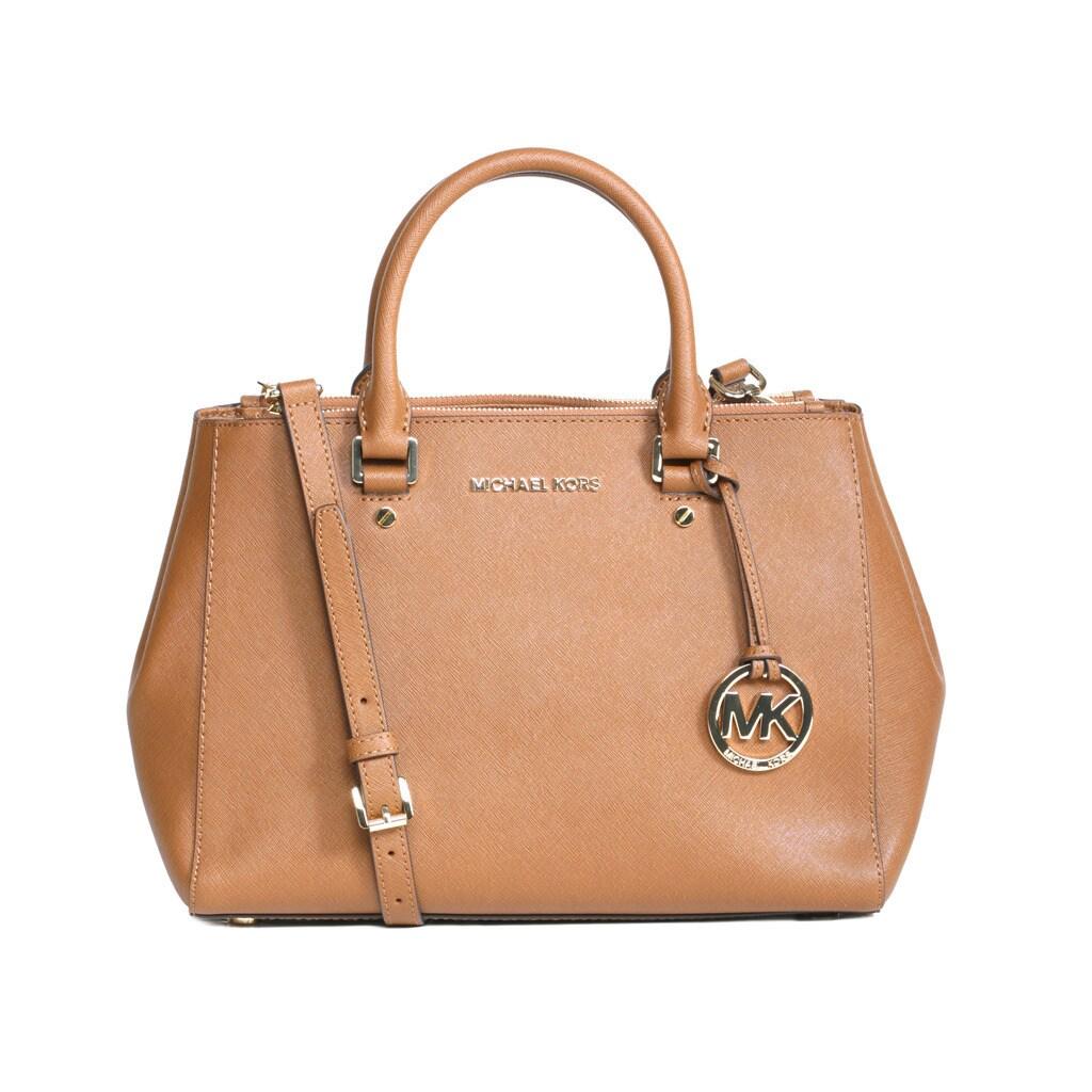 Shop Michael Kors Sutton Medium Luggage Brown Satchel Handbag Free Bag Shipping Today 14607108