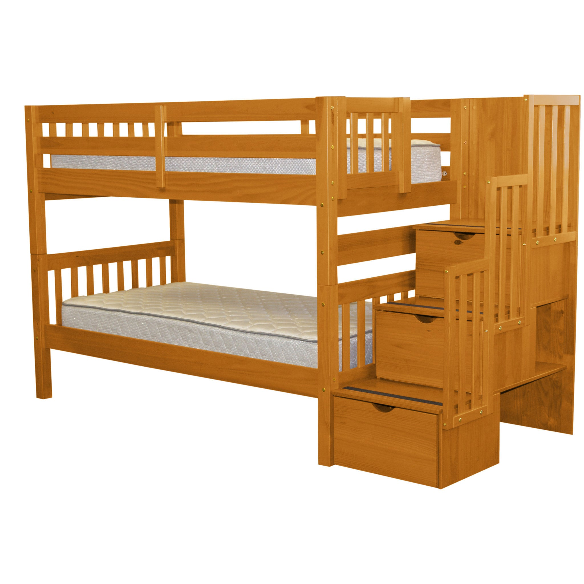 Bedz King Stairway Bunk Bed Twin Over With 3 Drawers In The Steps Honey