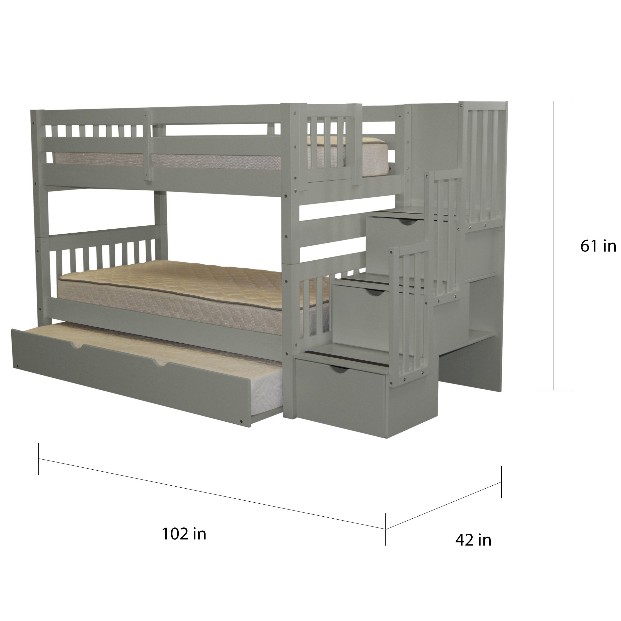 Picture of: Shop Bedz King Stairway Grey Wood Twin Bunk Bed With 3 Drawer Step Ladder And Trundle Bed Free Shipping Today Overstock 14628144