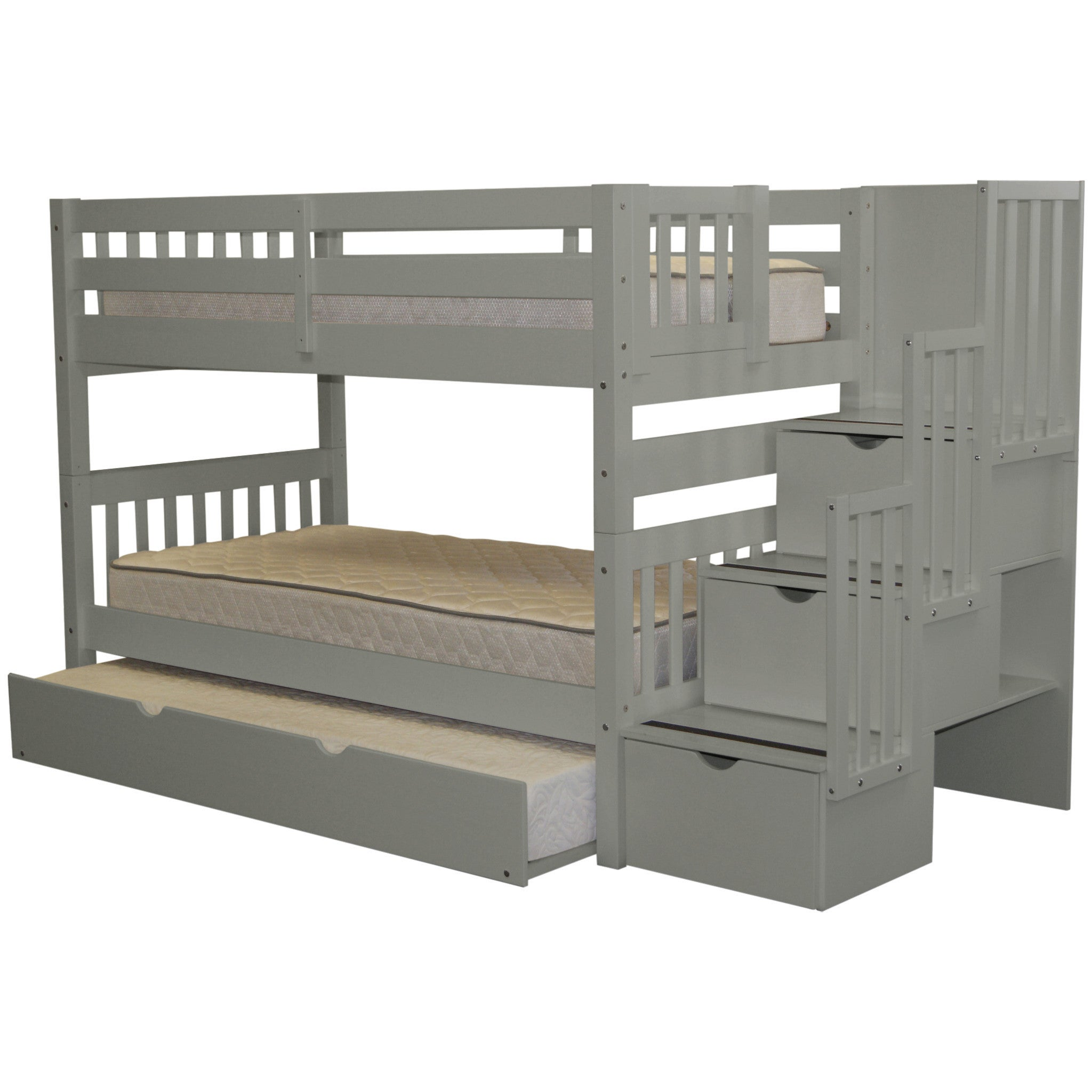 Shop Bedz King Stairway Grey Wood Twin Bunk Bed With 3 Drawer Step
