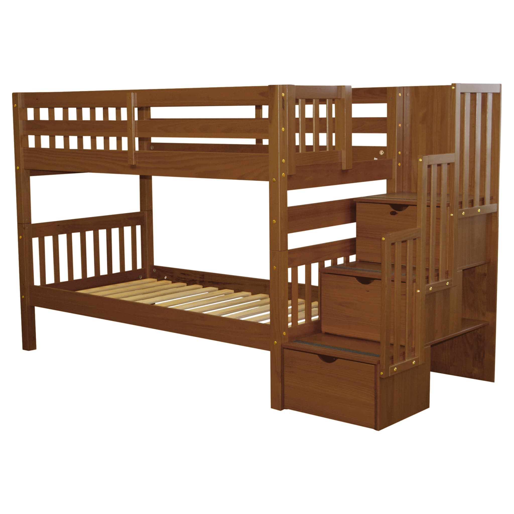 Bedz King Stairway Bunk Bed Twin Over Twin With 3