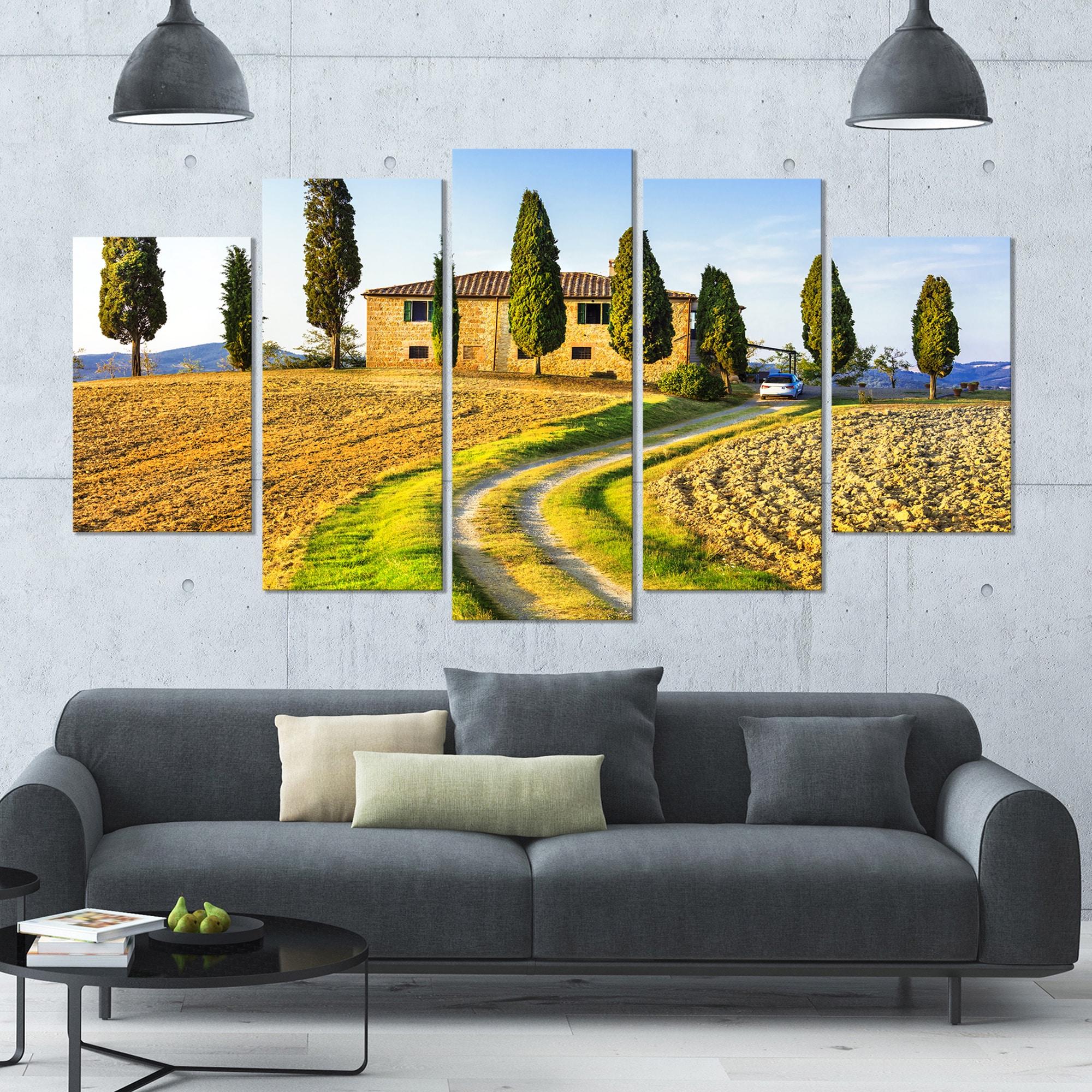 Designart \'Tuscany Scenery Italy\' Landscape Wall Artwork - 60x32 5 ...