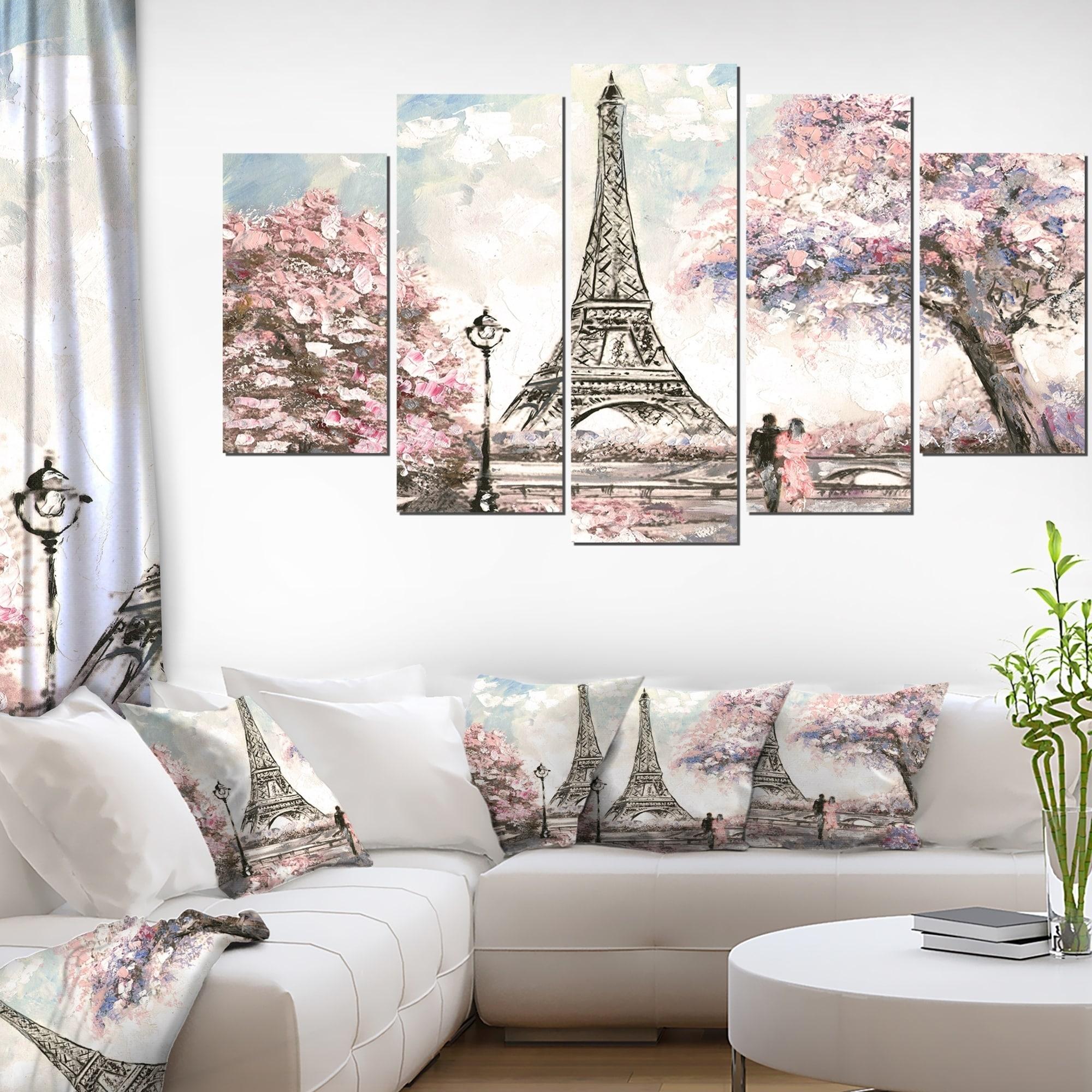 Designart \'Eiffel with Pink Flowers\' Landscape Wall Artwork on ...