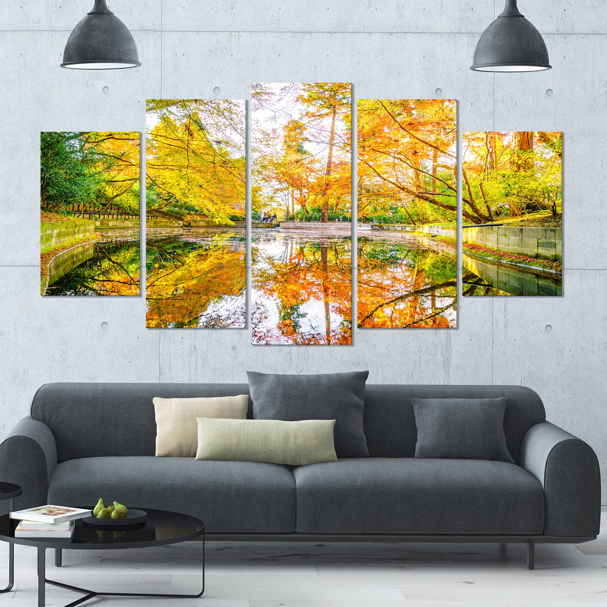 Shop Designart \'Bright Fall Forest with River\' Landscape Wall ...
