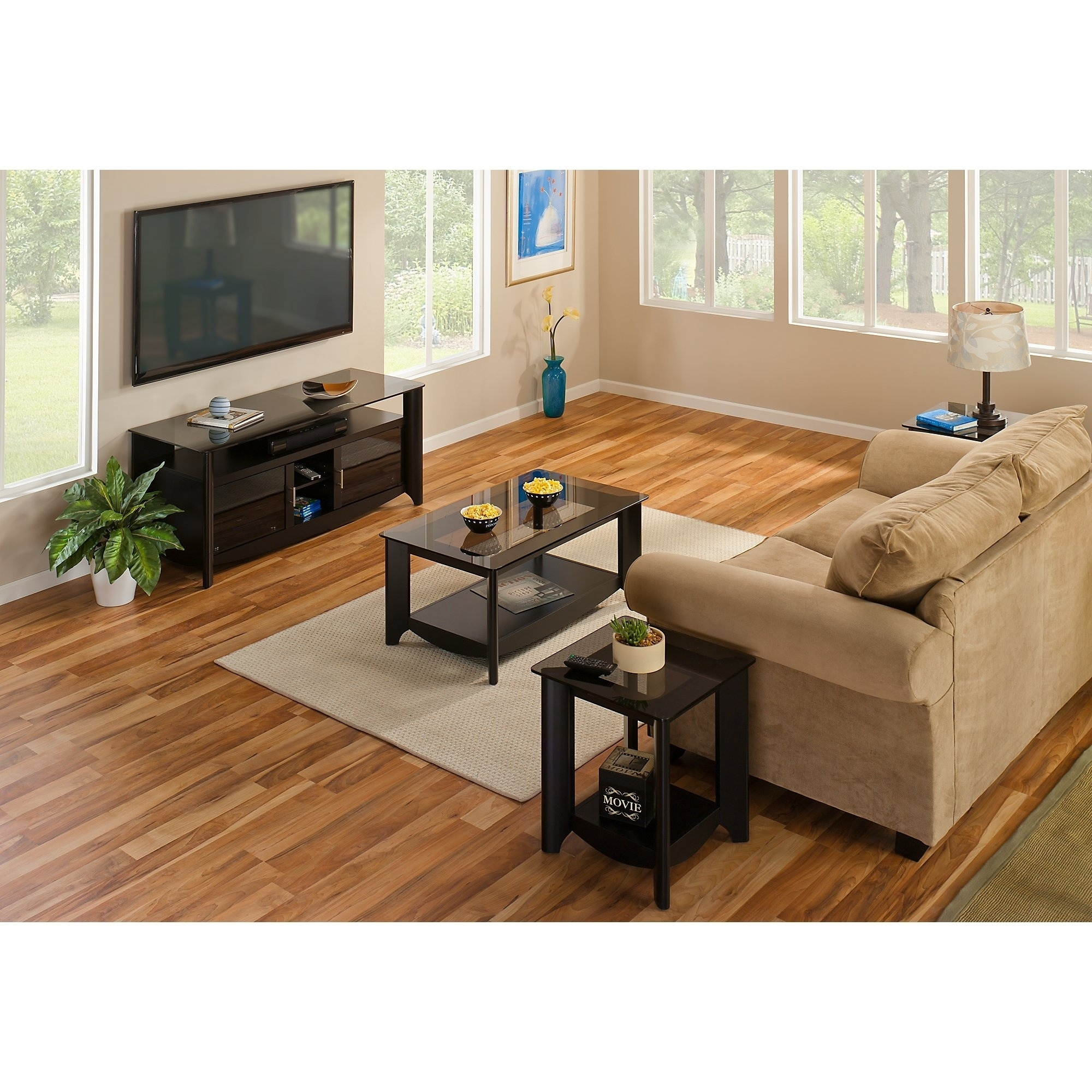 Aero 56 Inch TV Stand and Coffee Table with End Tables in Black