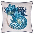 Blue Coral and Sea Snail Crewel Stitch 18-inch Throw Pillow