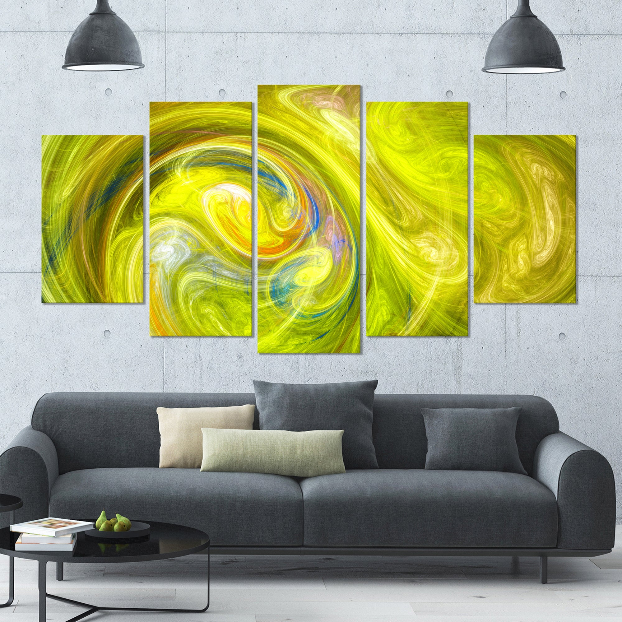 Designart \'Yellow Fractal Abstract Illustration\' Abstract Canvas ...