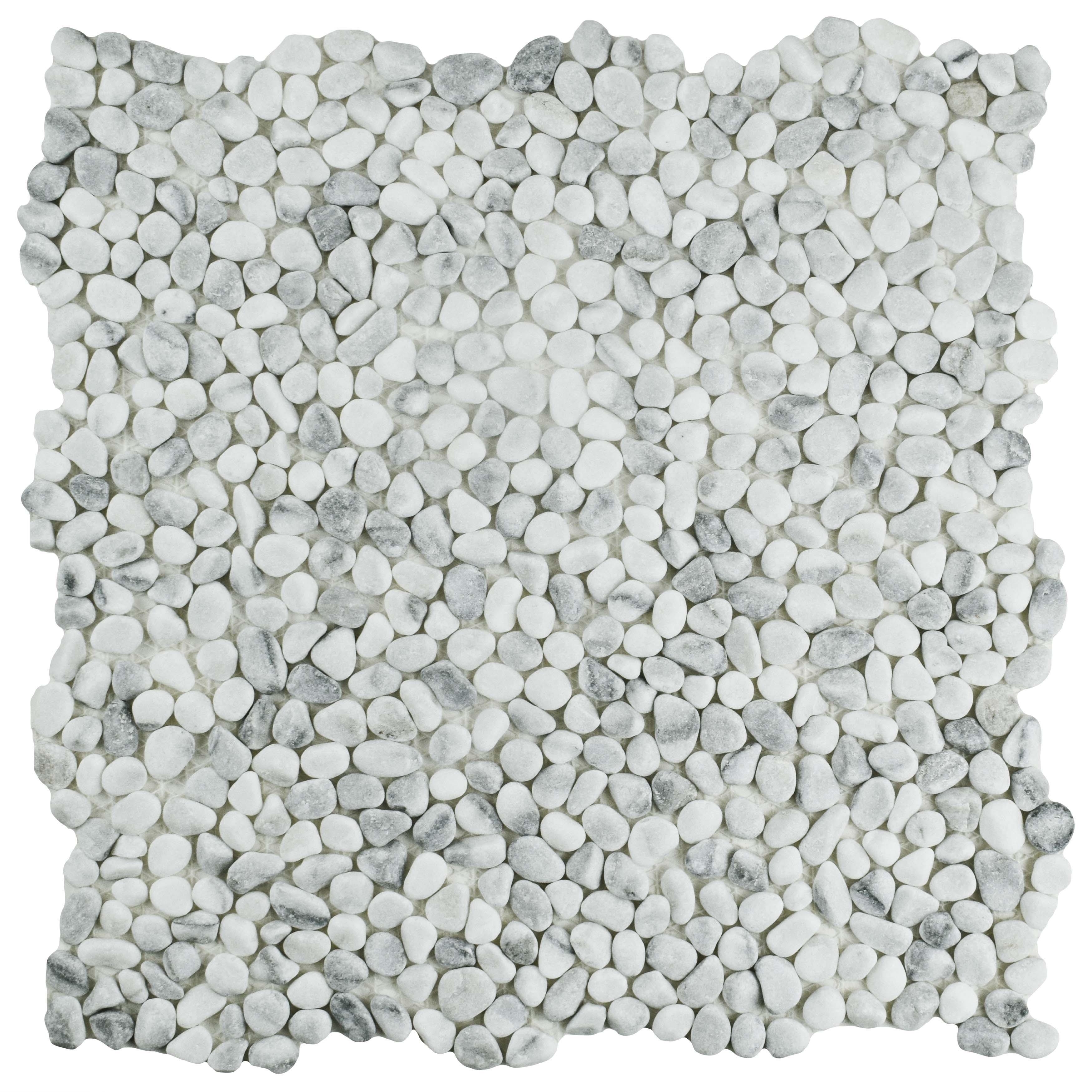 Shop SomerTile 12.25x12.25-inch Pebble White Smoke Pebble Stone ...