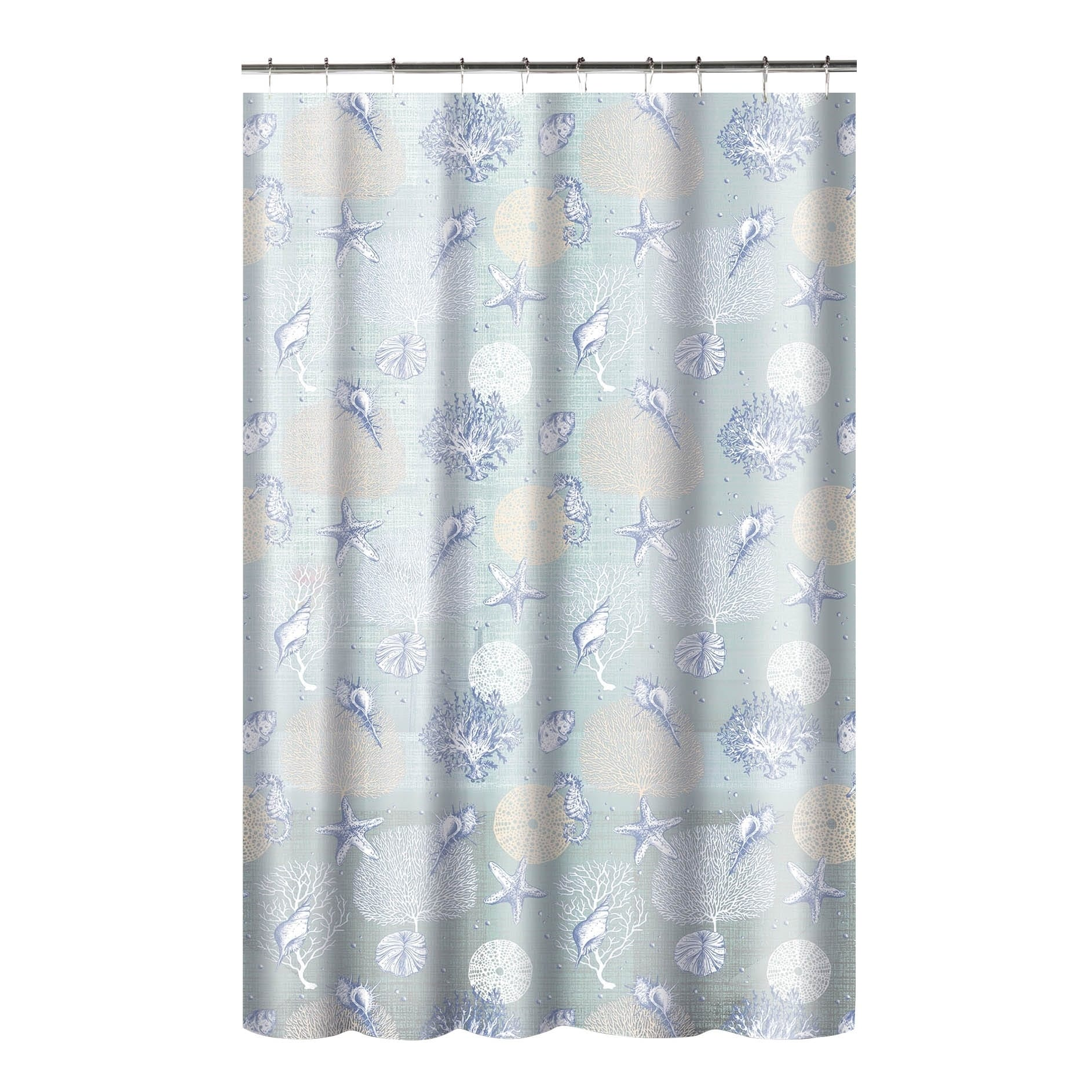 Shop Printed Coral PEVA EVA Shower Curtain With Metal Roller Hooks In Aqua