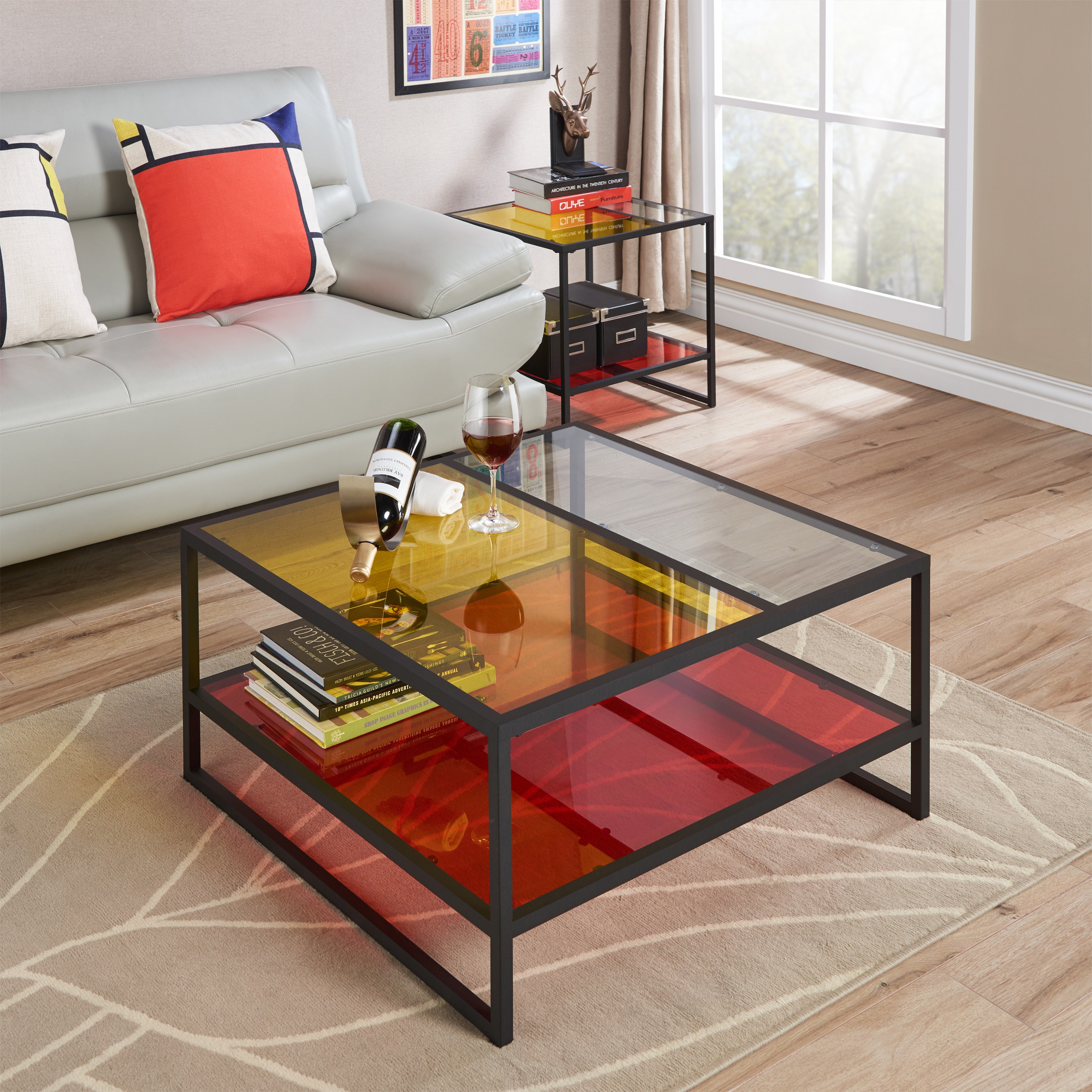 Furniture Of America Delrana Contemporary Gl Panel Multi Color Coffee Table On Free Shipping Today 14634156