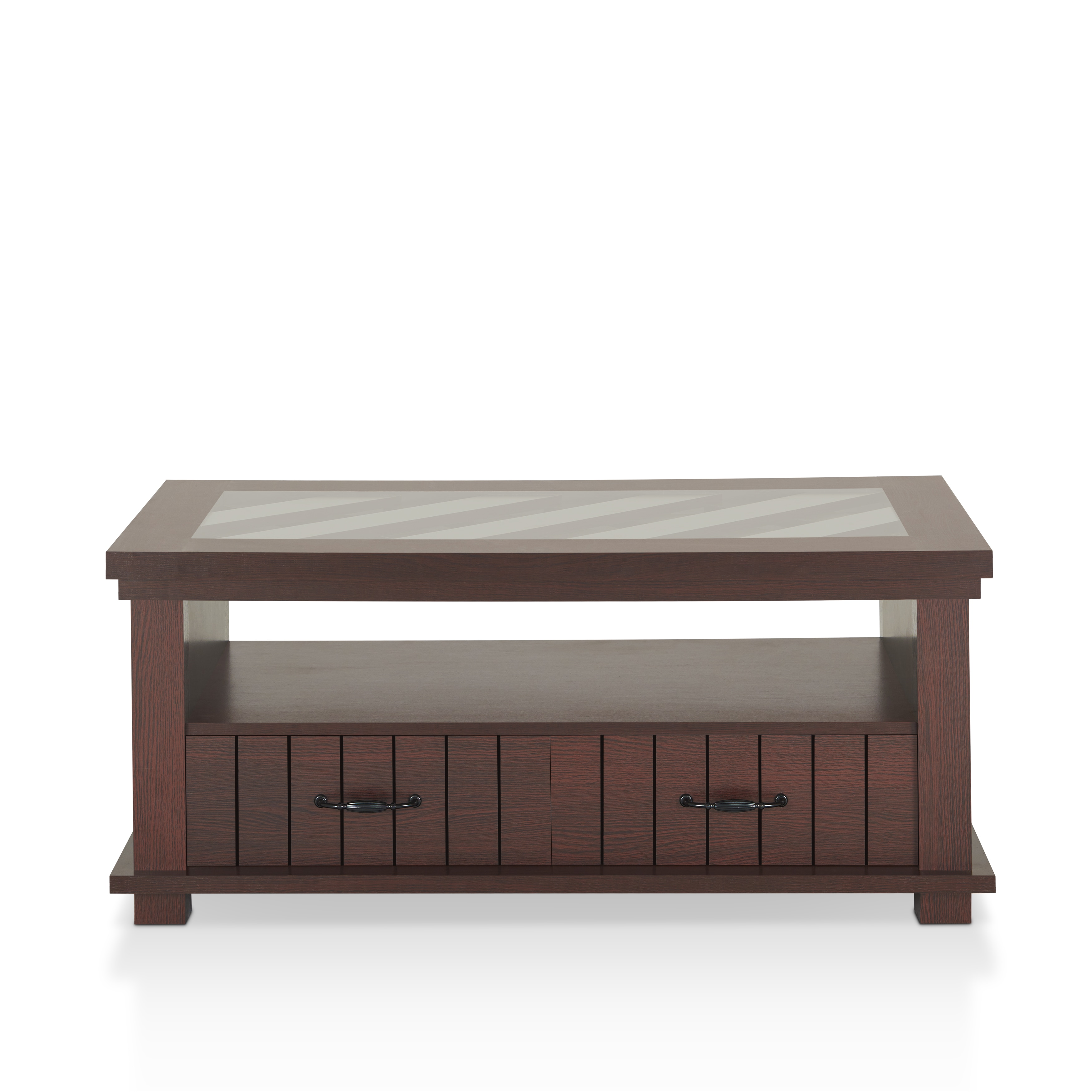 Furniture Of America Cresci Rustic Glass Top 2 Drawer Espresso Coffee Table    Free Shipping Today   Overstock   21174378