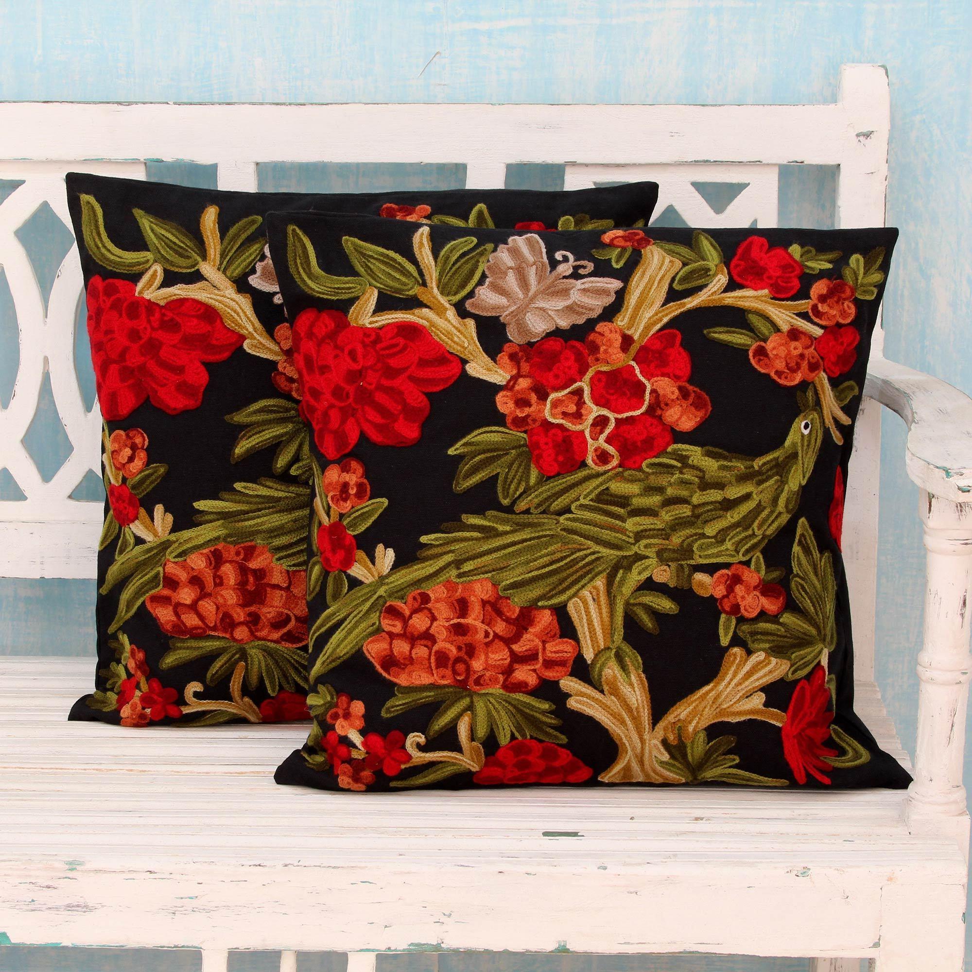 Shop Set of 2 Handmade Cotton \'Midnight in the Garden\' Cushion ...