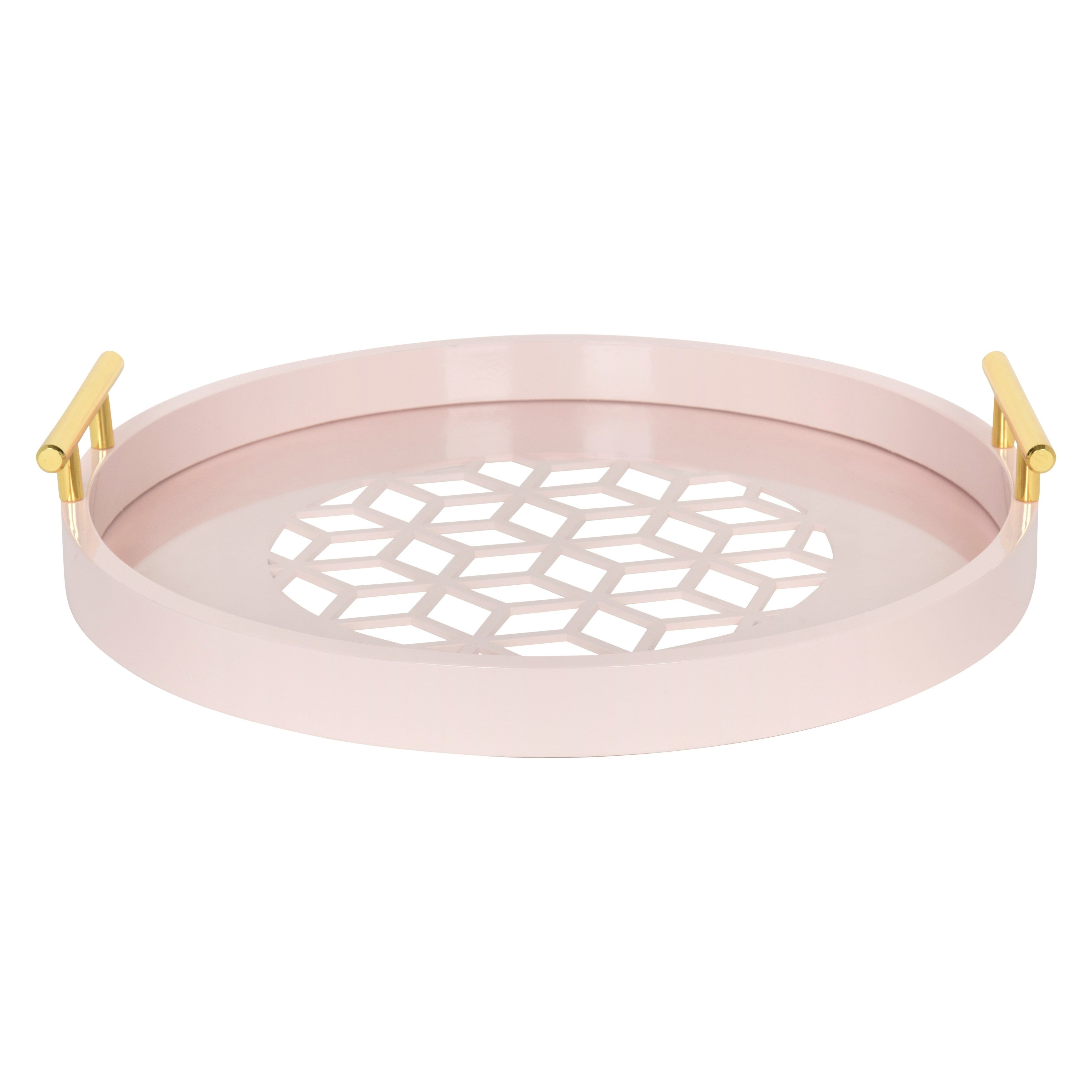 6b3966c5ae Shop Kate and Laurel Caspen Round Cut-out Pattern Decorative Gold Metal Handles  Tray - Free Shipping Today - Overstock - 14636500