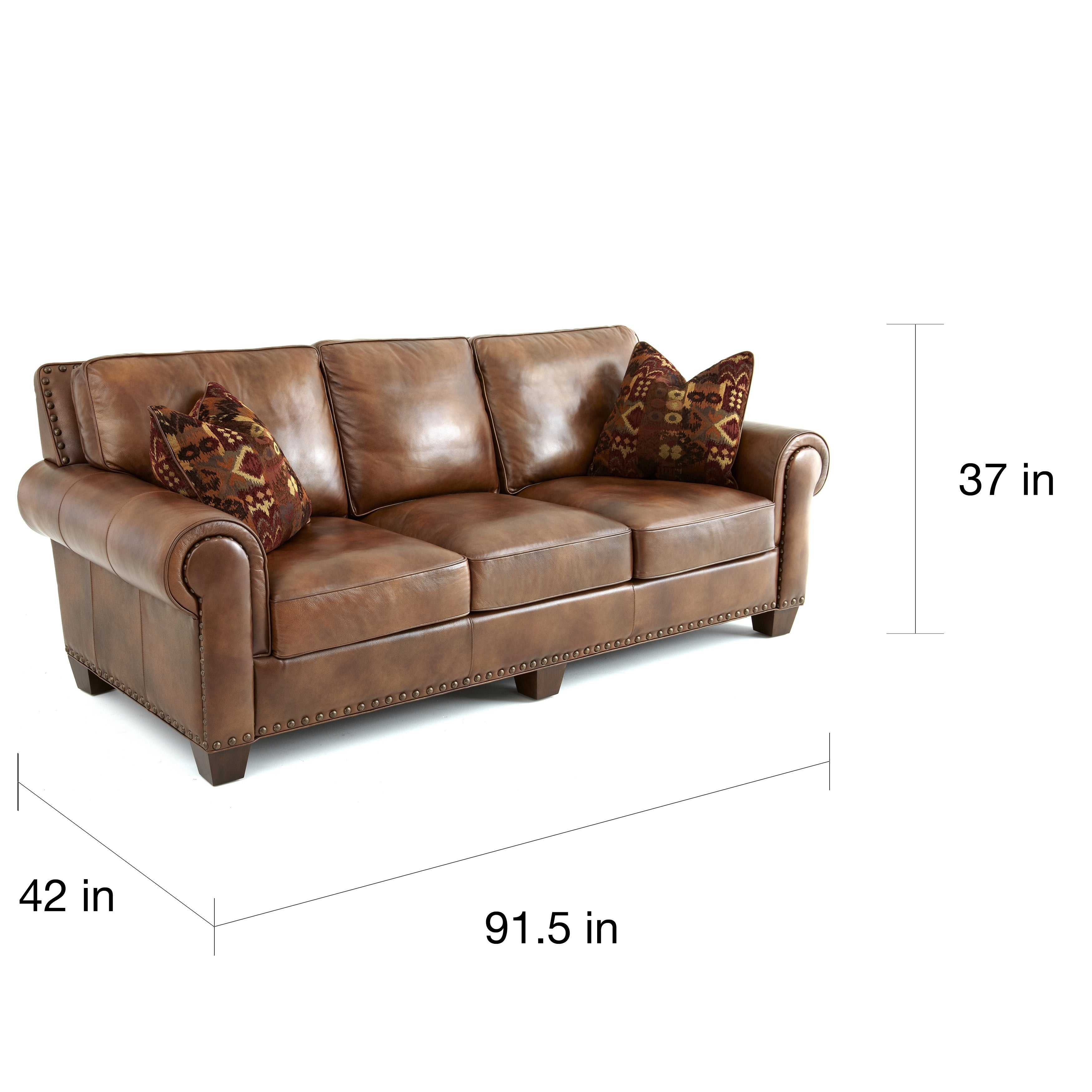Sanremo Top Grain Leather Sofa With Two Pillows By Greyson Living  ~ Full Top Grain Leather Sofa