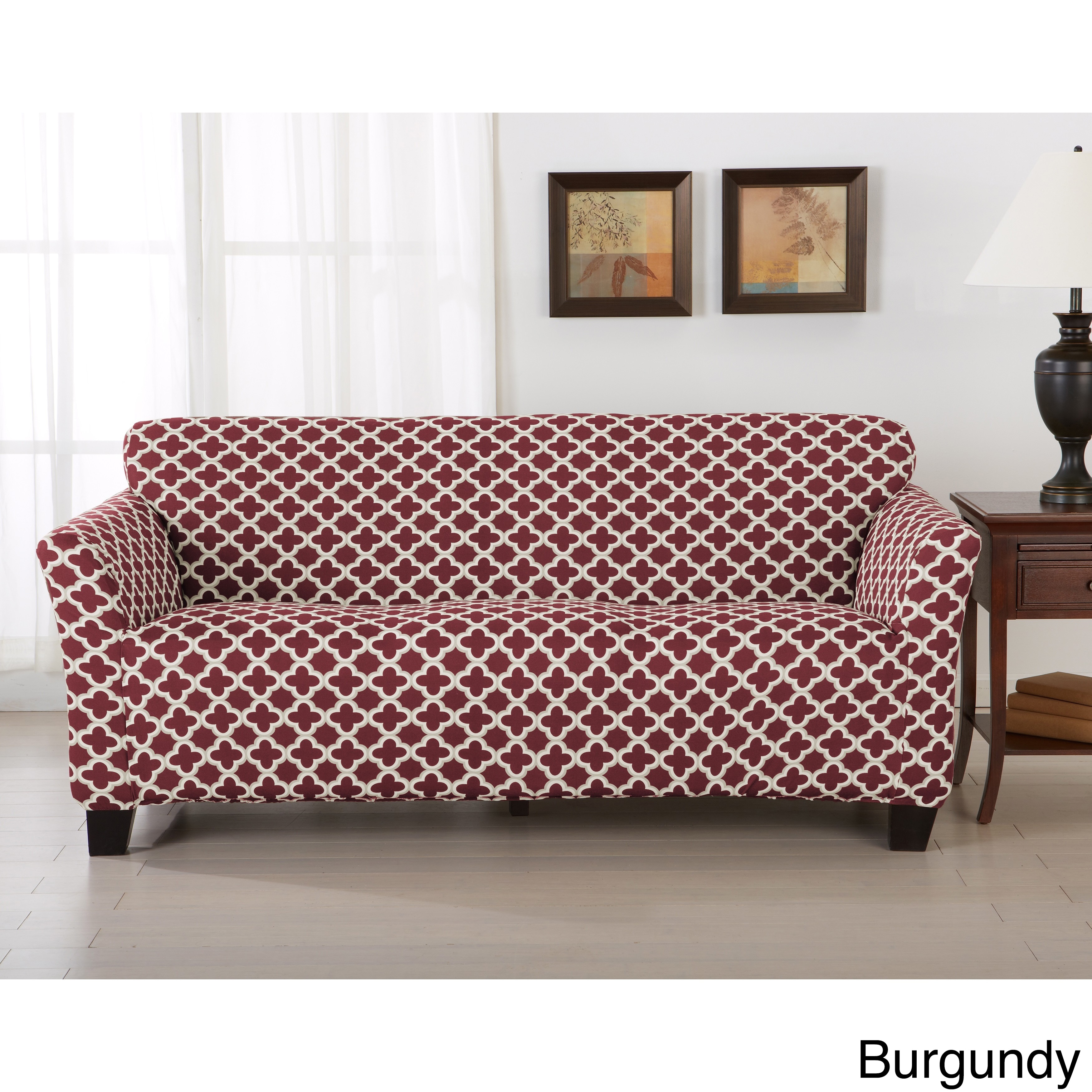 Shop Brenna Collection Trellis Print Stretch Form Fitted Sofa Slip