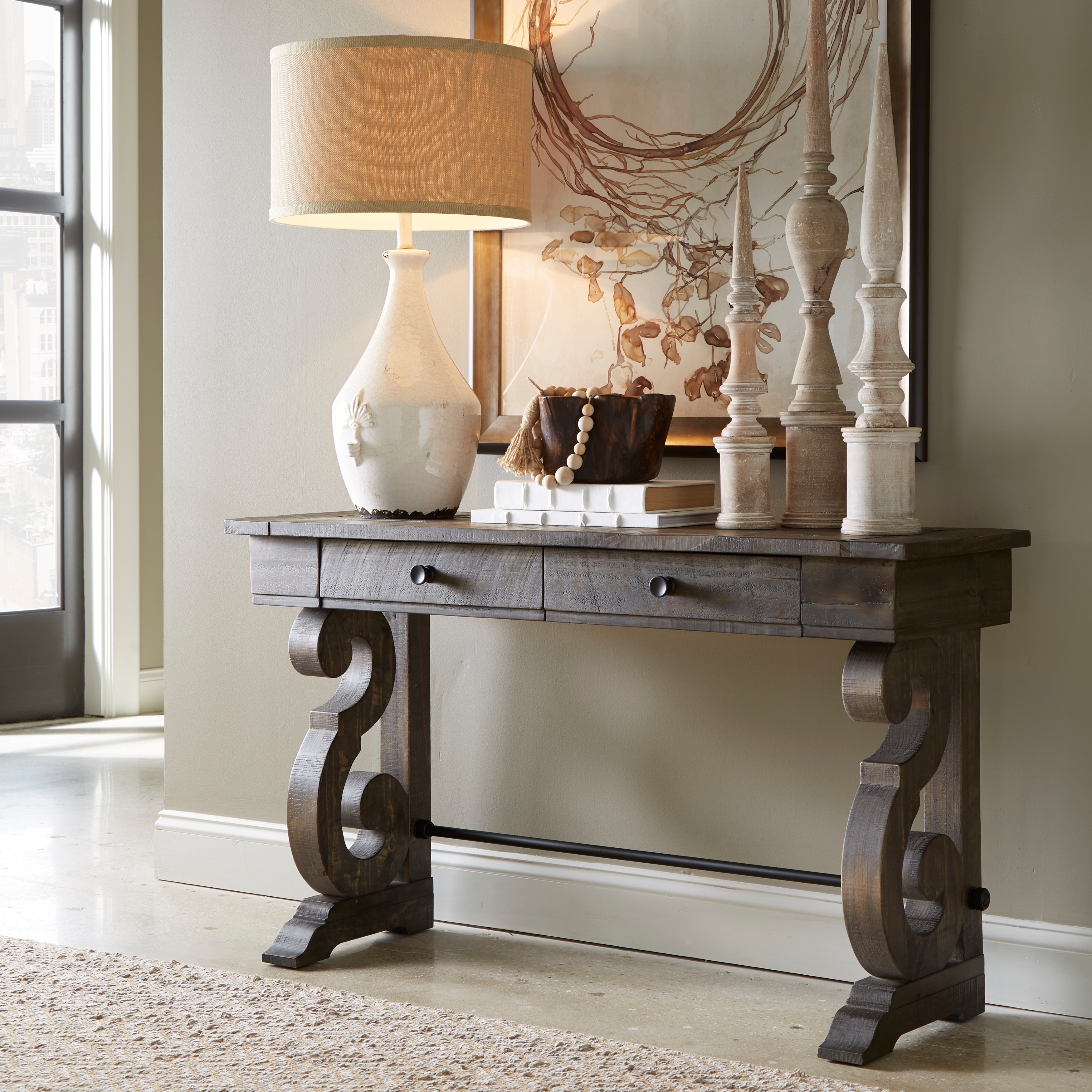 Charmant Shop Bellamy Traditional Weathered Peppercorn Storage Console Table   Free  Shipping Today   Overstock.com   14639348