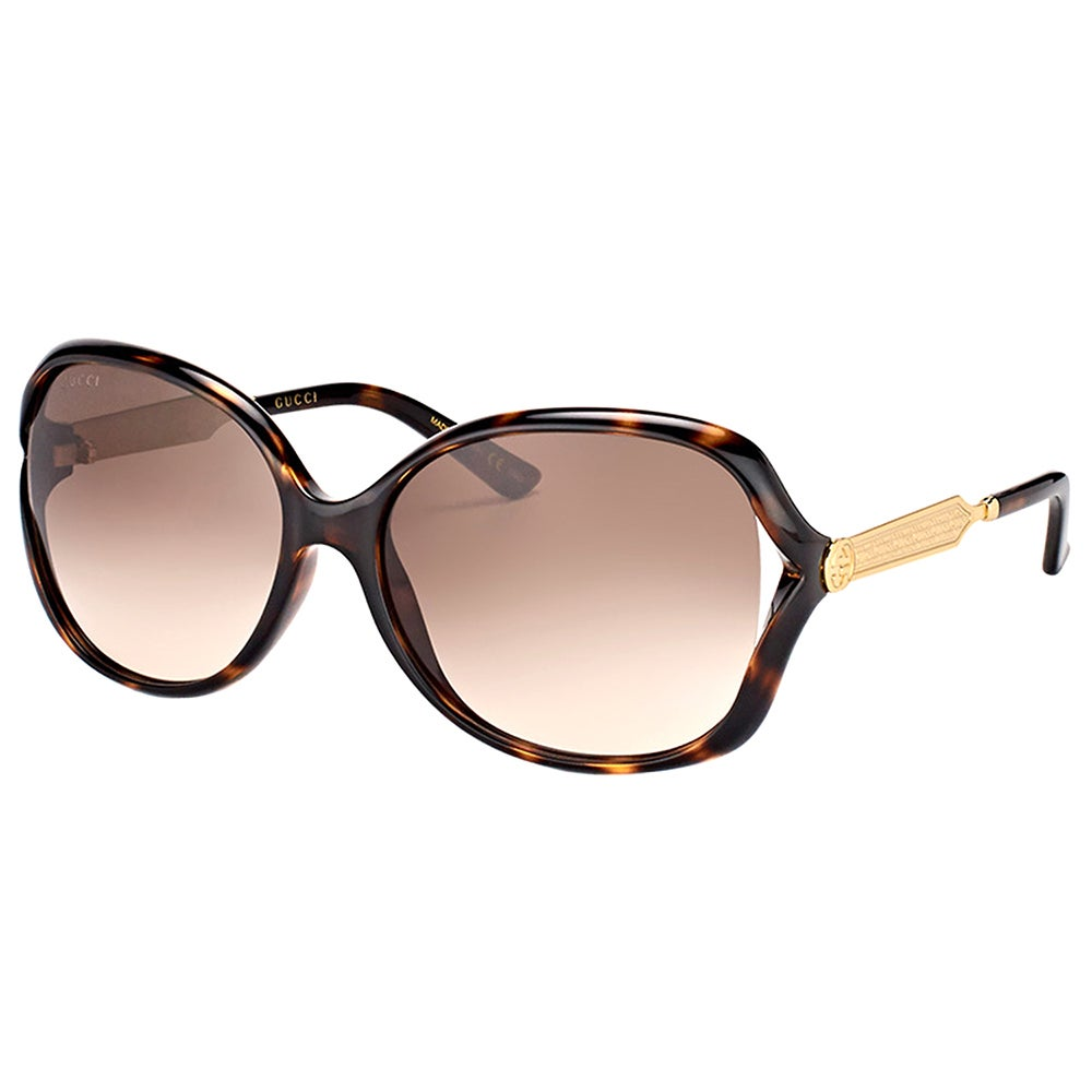 d8f73e6971f Shop Gucci GG 0076S 003 Havana Gold Plastic Fashion Sunglasses Brown  Gradient Lens - Free Shipping Today - Overstock - 14642336