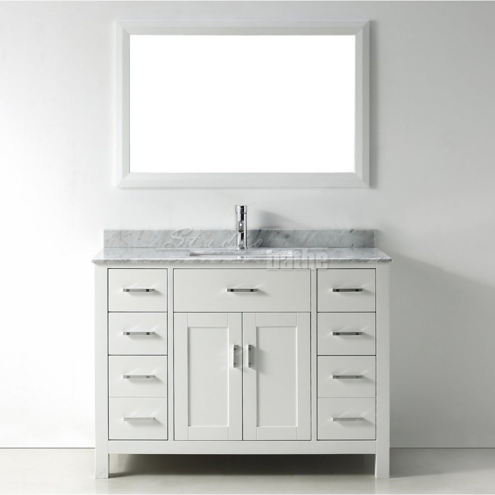 Shop 48-inch Belvedere Modern Freestanding White Bathroom Vanity with Marble Top - Free Shipping Today - Overstock - 14644039
