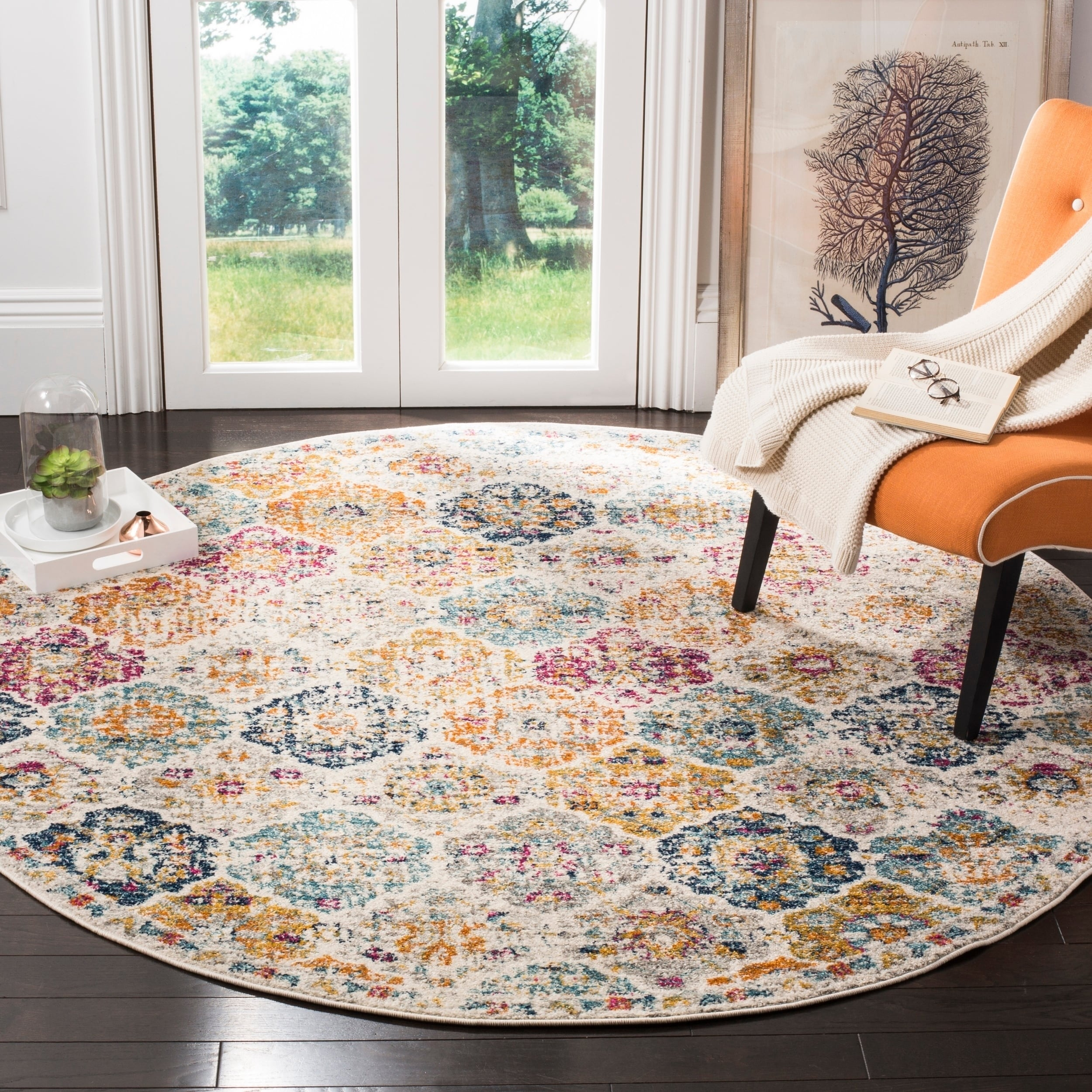 84fc130a282 Shop Safavieh Madison Avery Boho Vintage Cream  Multi Distressed Rug - 7  x  7  Round - On Sale - Free Shipping Today - Overstock - 14644934