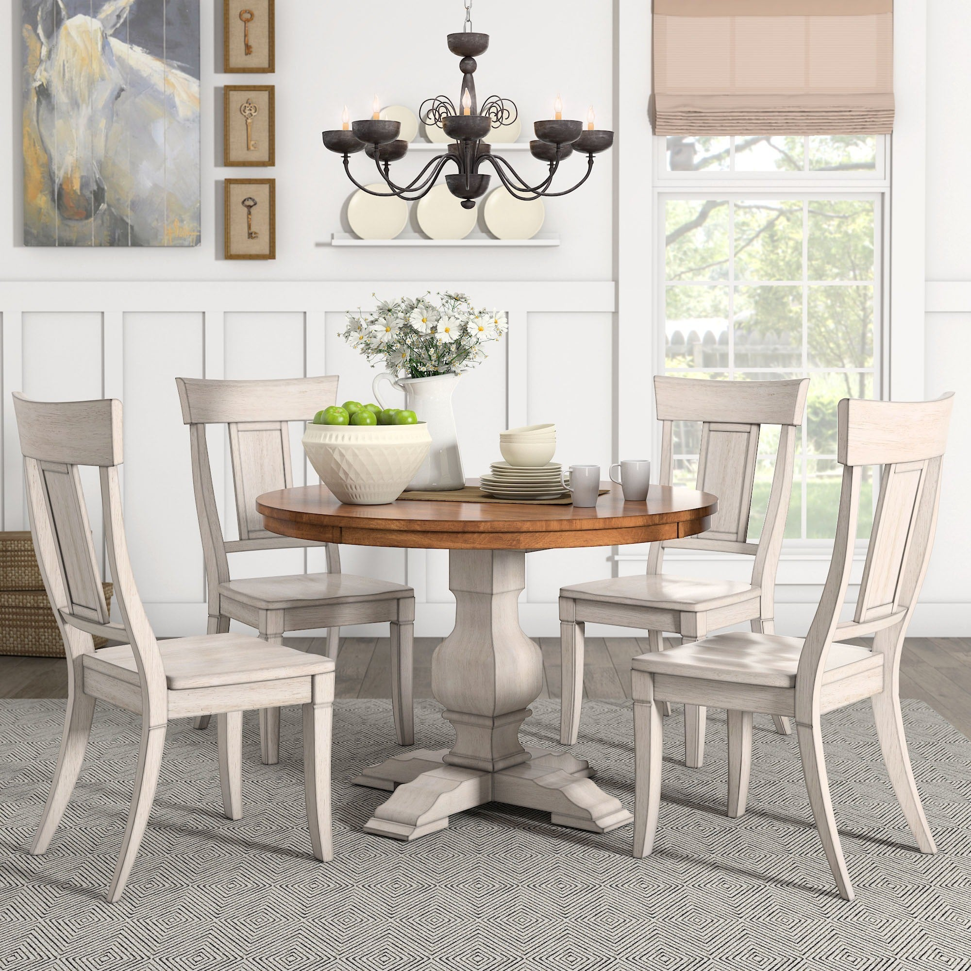 Eleanor Antique White Round Solid Wood Top 5 Piece Dining Set