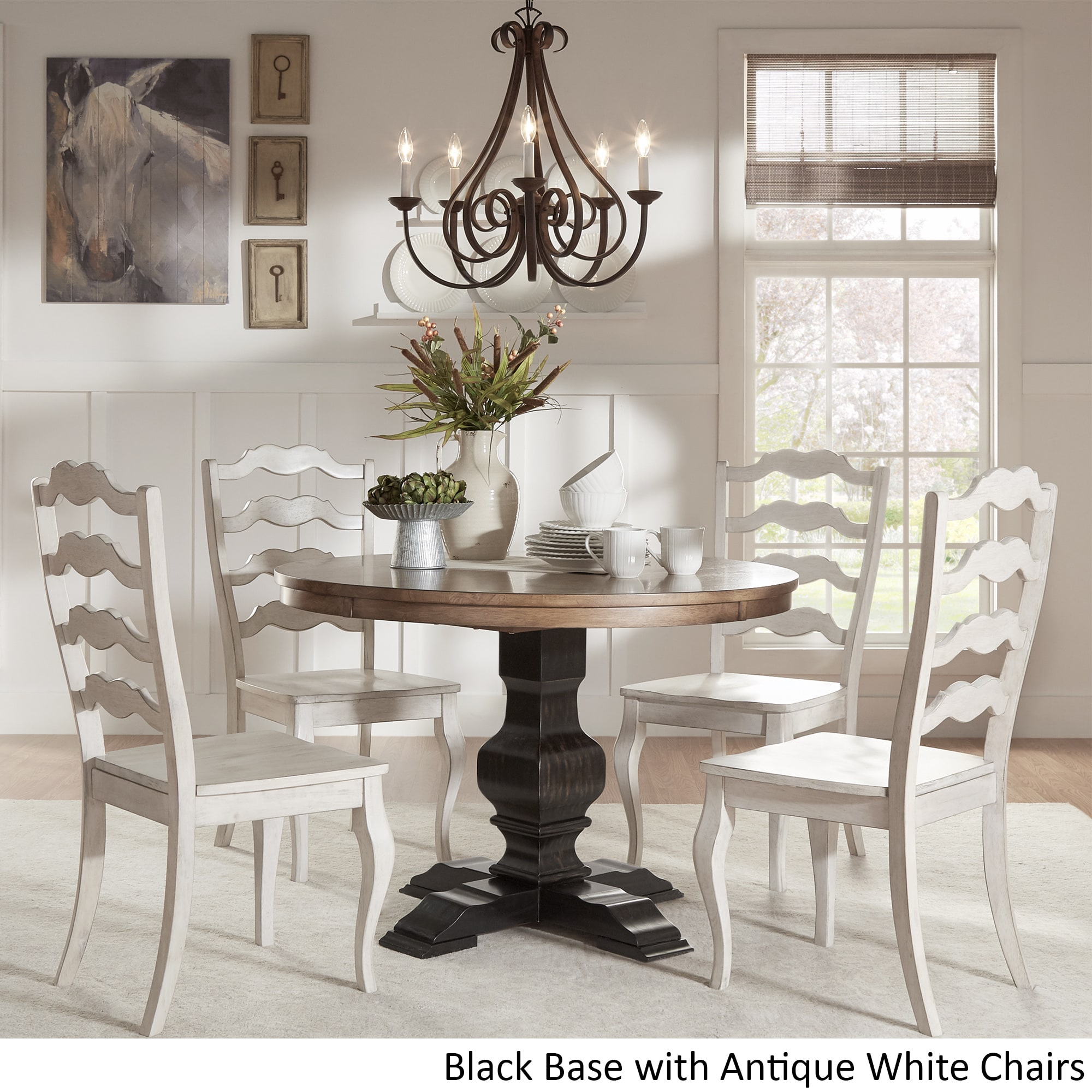Shop Eleanor Black Round Solid Wood Top 5 Piece Dining Set   French Ladder  Back By INSPIRE Q Classic   Free Shipping Today   Overstock.com   14645301
