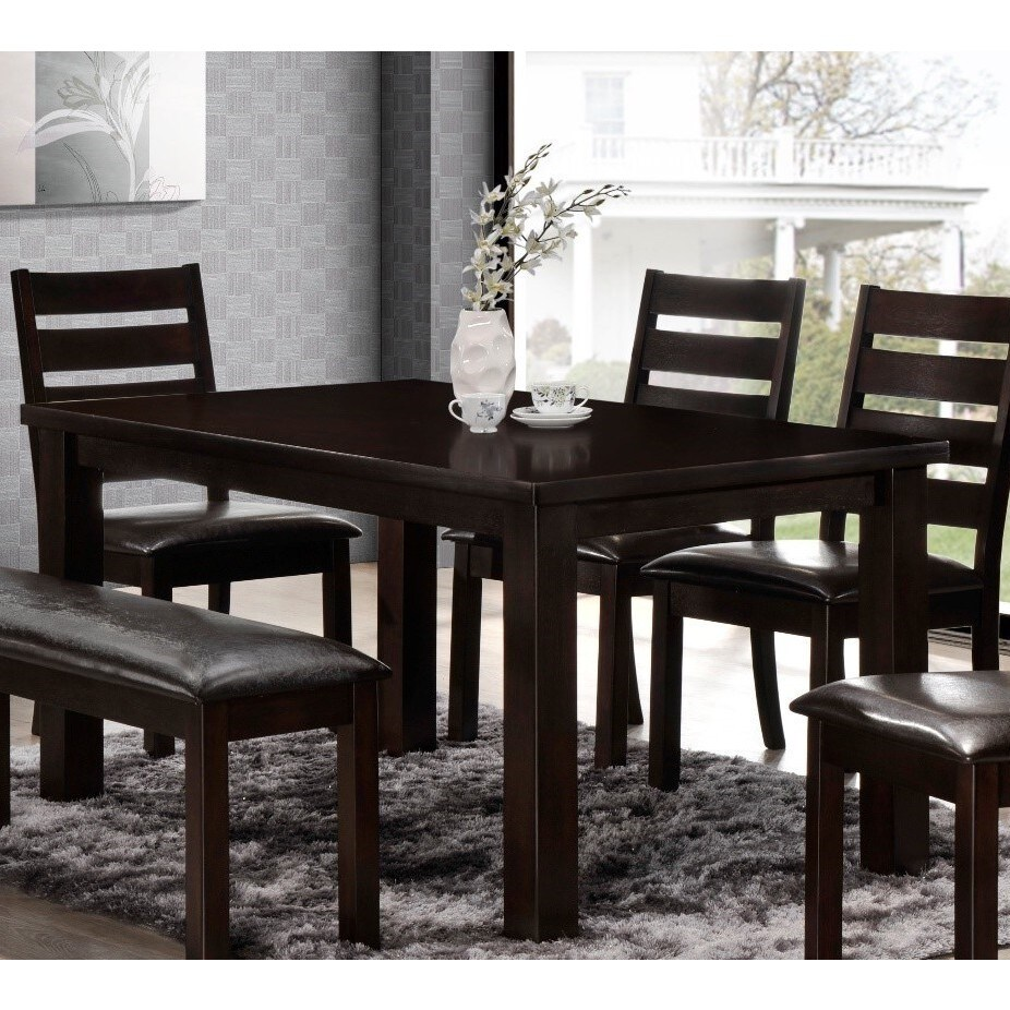 Shop lyke home contemporary walnut dining table chocolate free shipping today overstock com 14646178