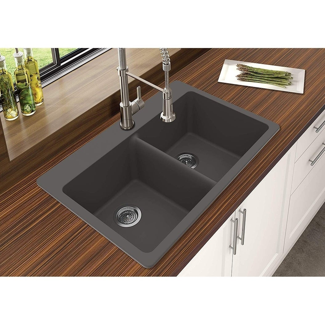 Winpro Granite Quartz 33 X 22 X 9 1 2 Double Bowl Dual Mount Sink Overstock 14646724