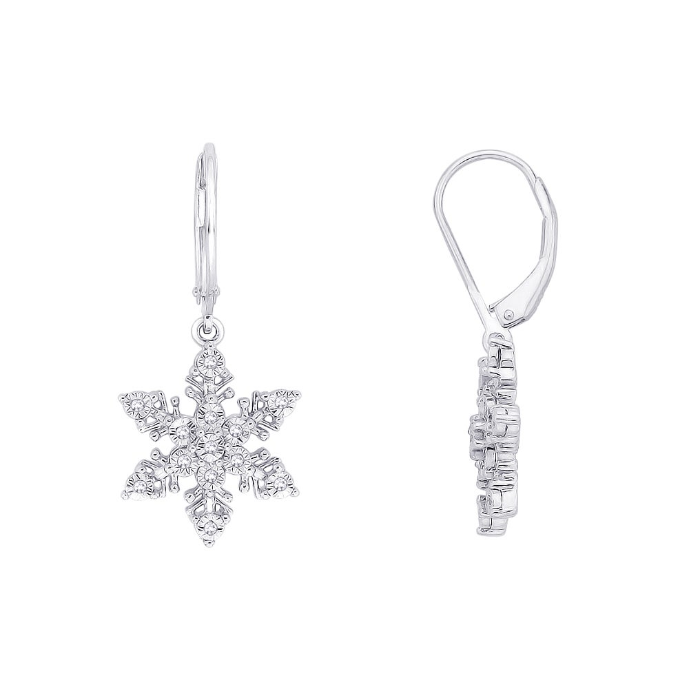 Sterling Silver 1 10ct Tdw Snow Flake Dangle Diamond Earrings J K I1 I2 Free Shipping Today 14650819