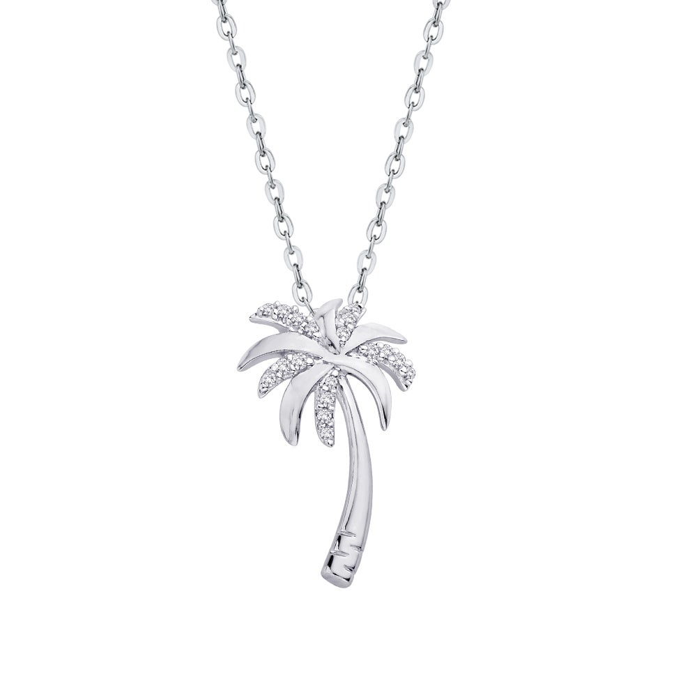 Sterling silver 110ct tdw palm tree diamond pendant j ki1 i2 sterling silver 110ct tdw palm tree diamond pendant j ki1 i2 free shipping today overstock 21188752 aloadofball Images