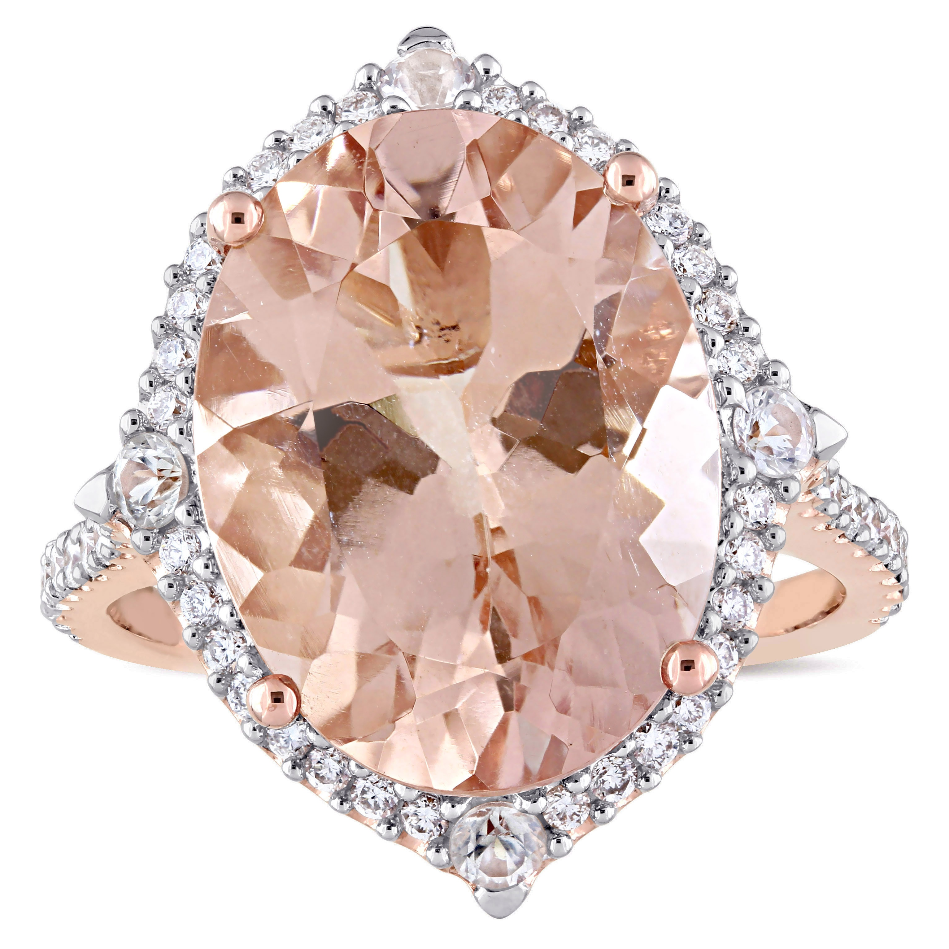 Shop Miadora Signature Collection 14k Rose Gold Morganite White ...
