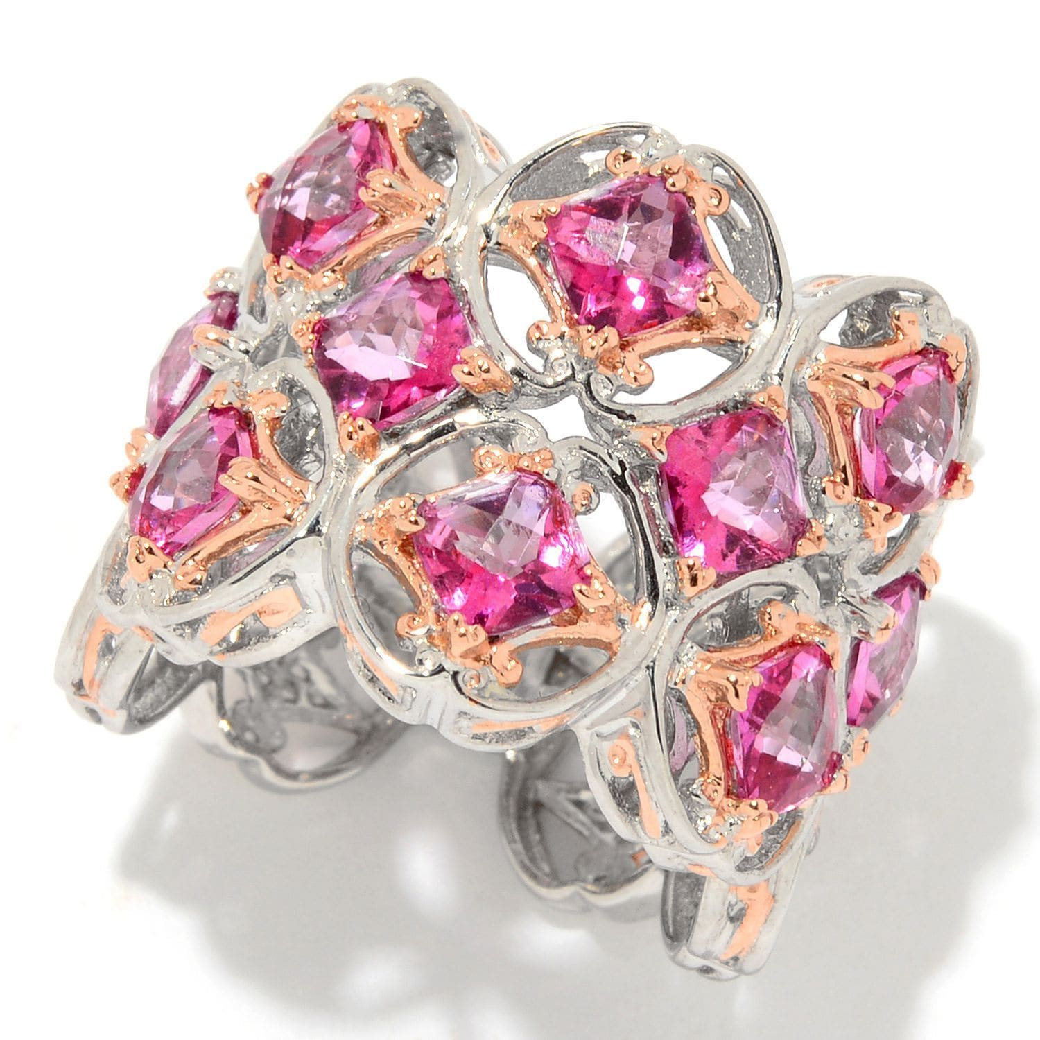 Michael Valitutti Palladium Silver Checkerboard Cut Pink Topaz Wide ...