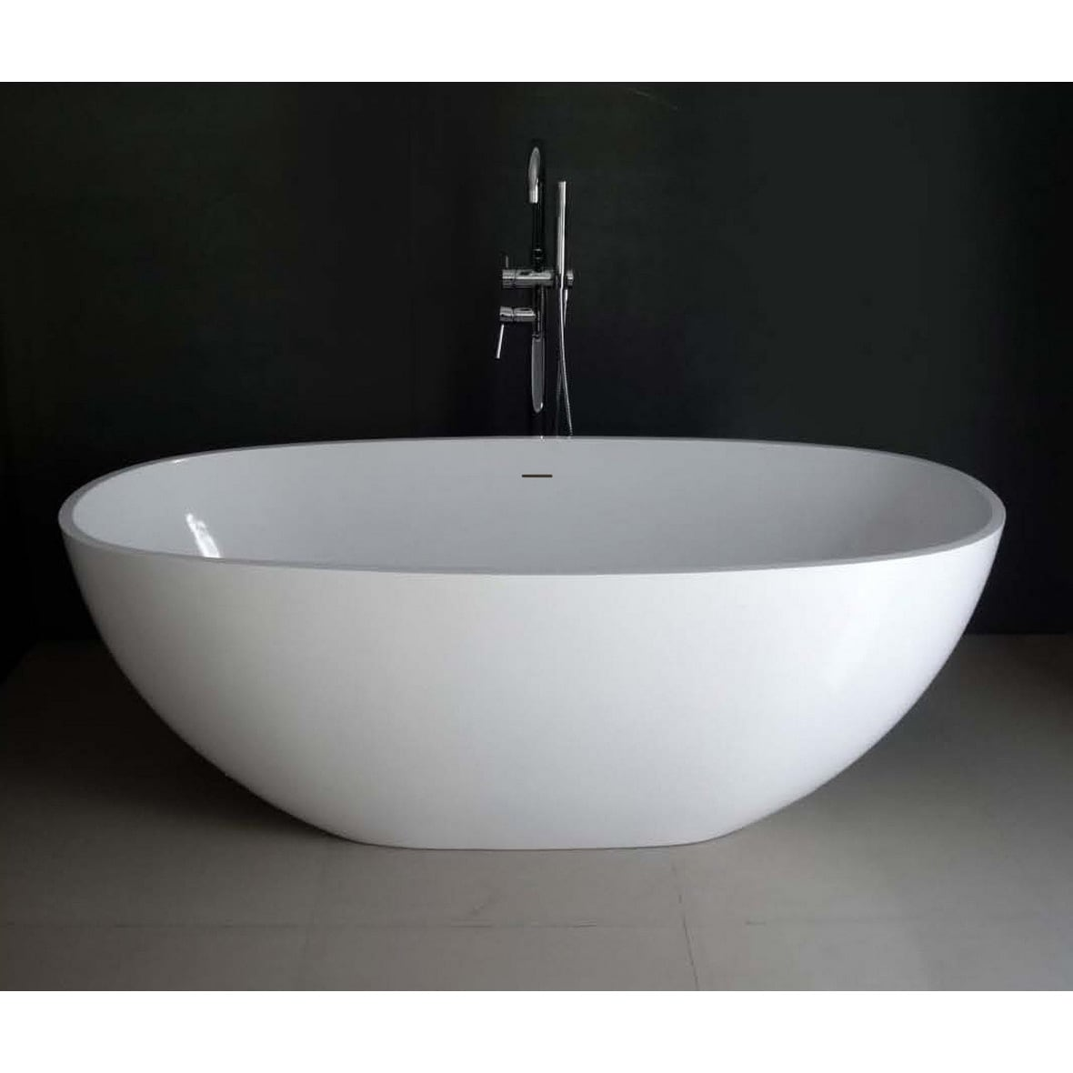 Shop Contemporary 65-inch Solid Surface Freestanding Oval Bathtub ...