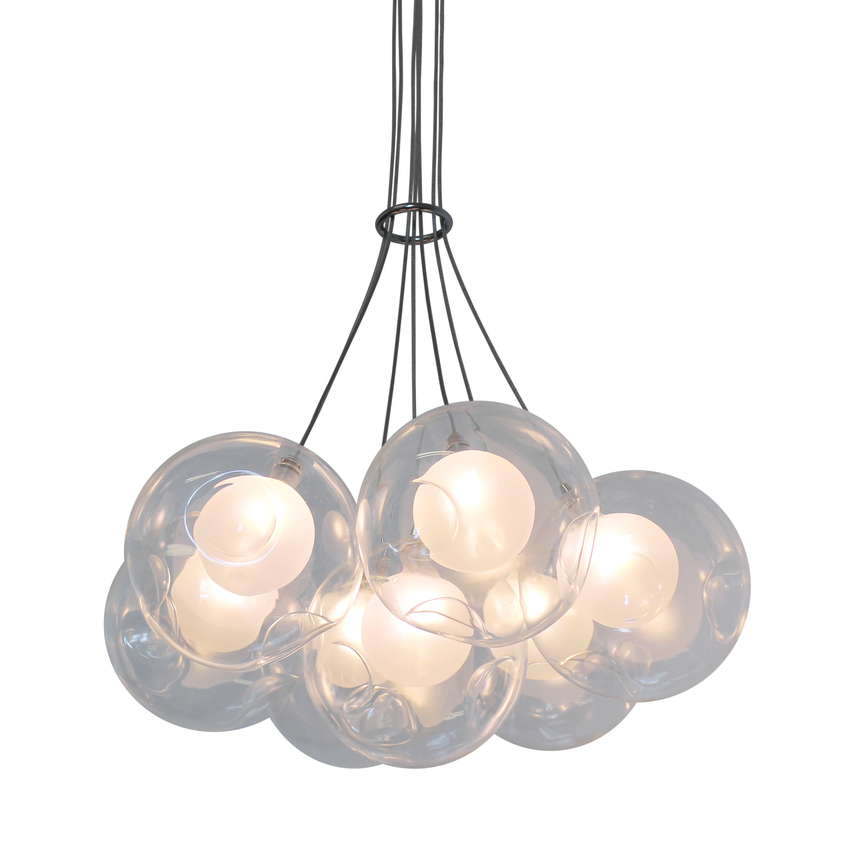 Ara 7 Light Glass Sphere Rectangular LED Chandelier Free