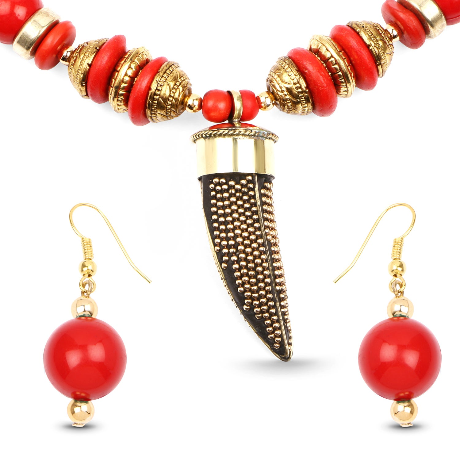 Handmade Red and Gold Beaded Set