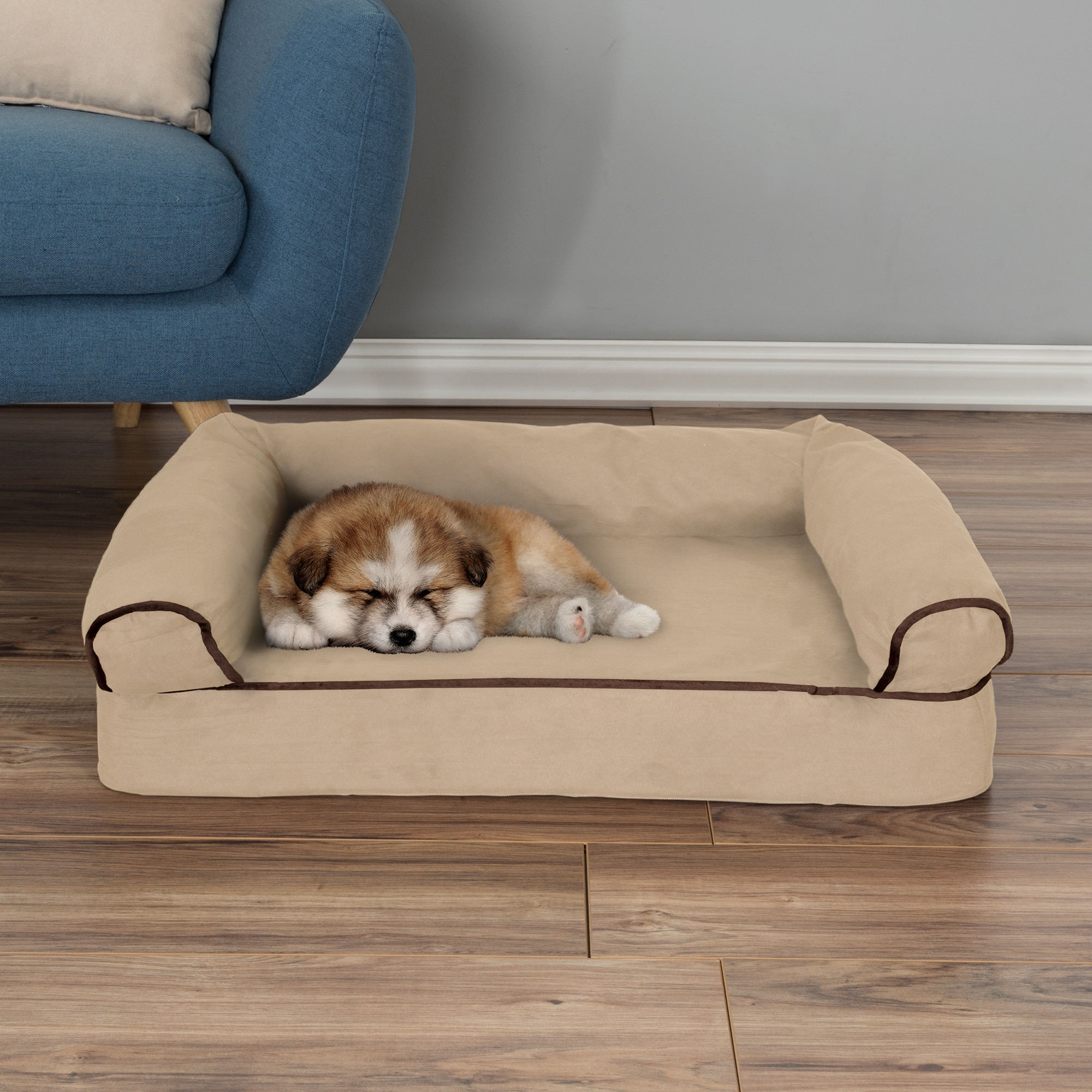 picture of lounger orthopedic bed luxe beds espresso p microvelvet ebay pet medium dog