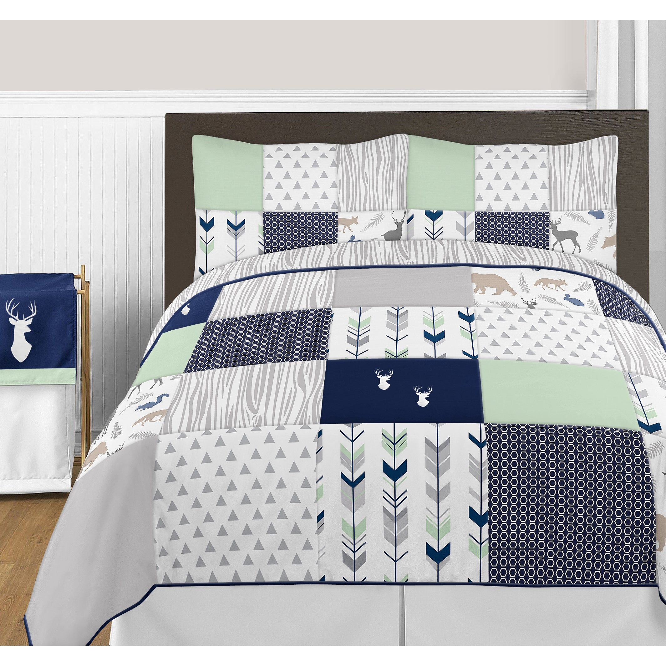 Sweet Jojo Designs Navy and Mint Woodsy Collection Full Queen 3